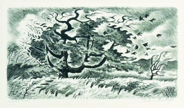 Charles Burchfield | AUTUMN WIND | lithograph | 7-1/4 x 13-3/8"