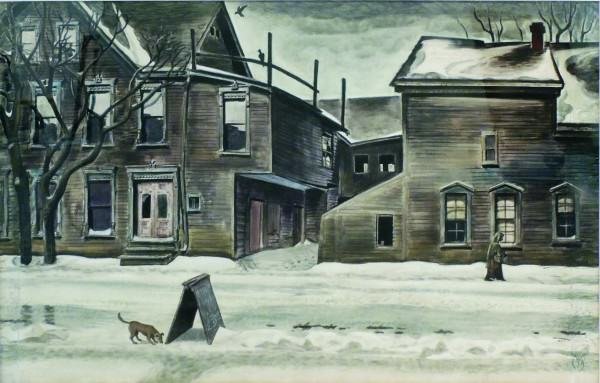 Charles Burchfield | OLD HOUSES IN WINTER | 1929-1941 | Watercolor on paper | 27-3/4 x 42-3/4"