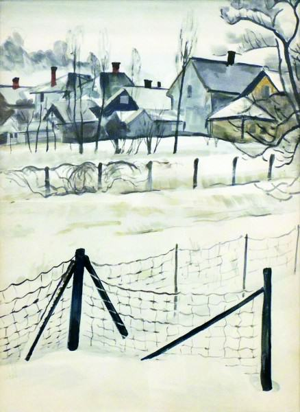 Charles Burchfield | WIRE FENCE IN SNOW | watercolor on paper | 26 x 19"