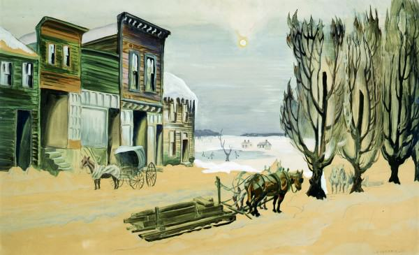 Charles Burchfield | WINTER SOLSTICE | 1920-1922 | watercolor on paper | 21-1/2 x 35-1/2"