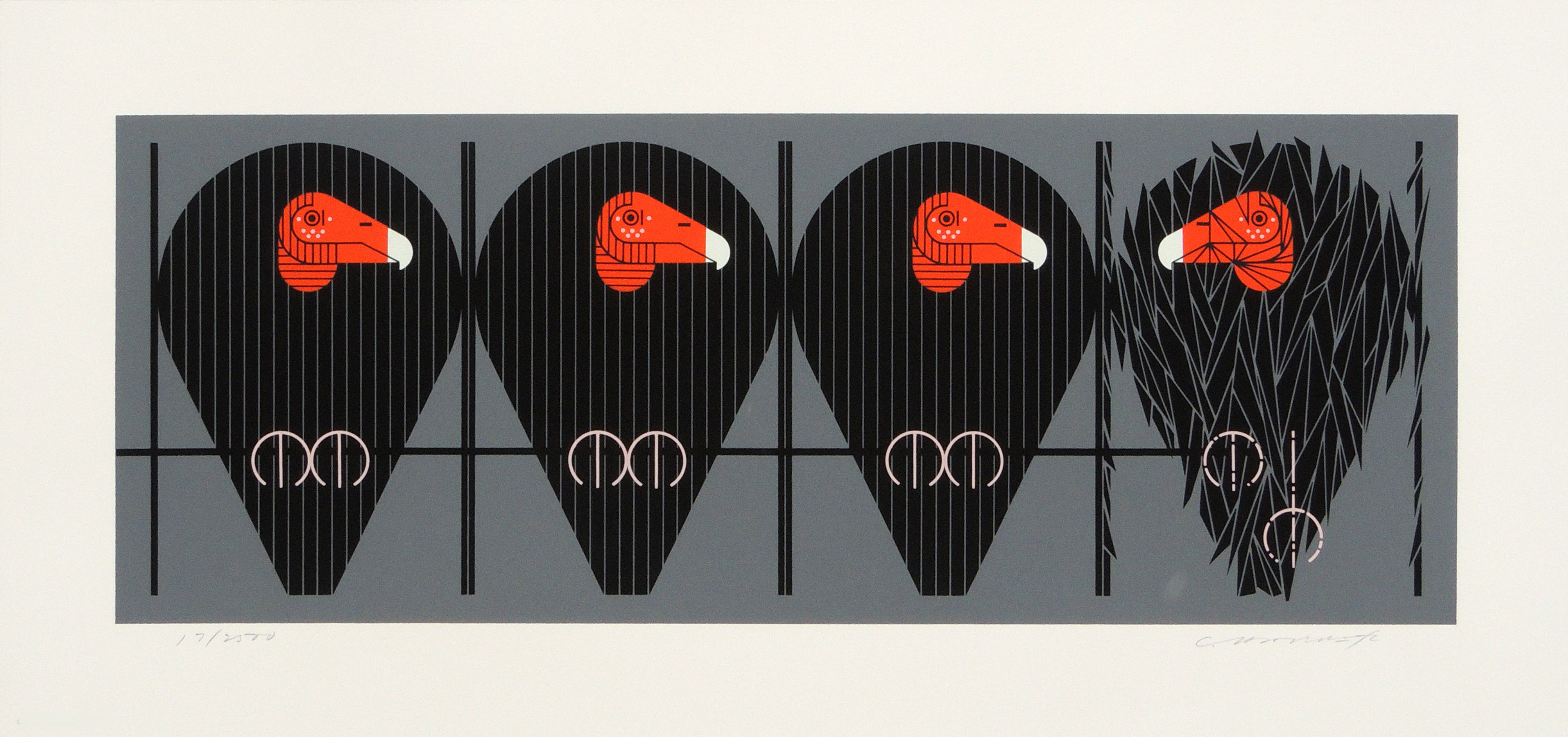Charley Harper | BUZZ OFF YOU TURKEY | serigraph on paper | 8-3/4 x 23