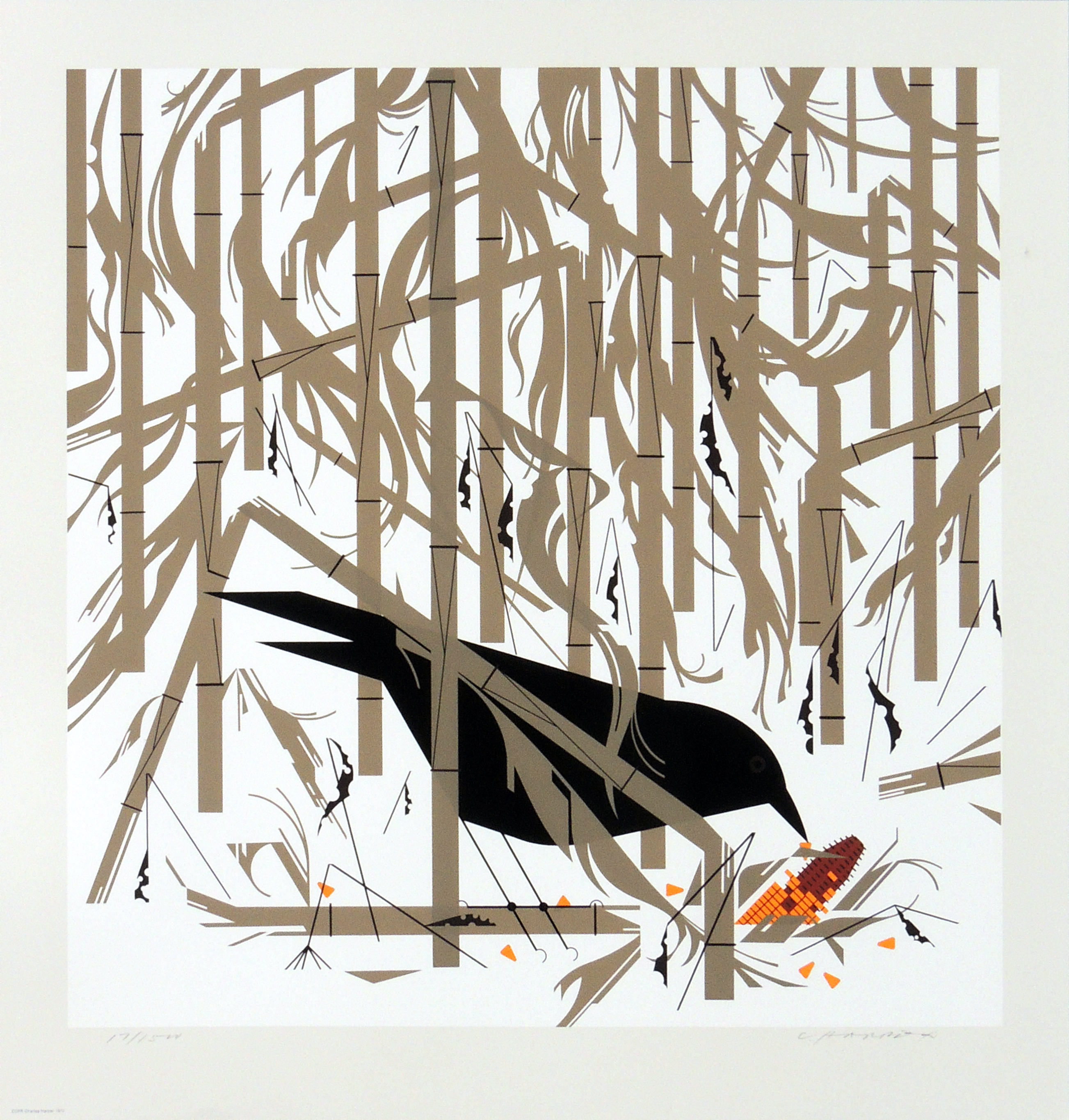 Charley Harper | CROW IN THE SNOW | serigraph on paper | 14-1/2 x 20"