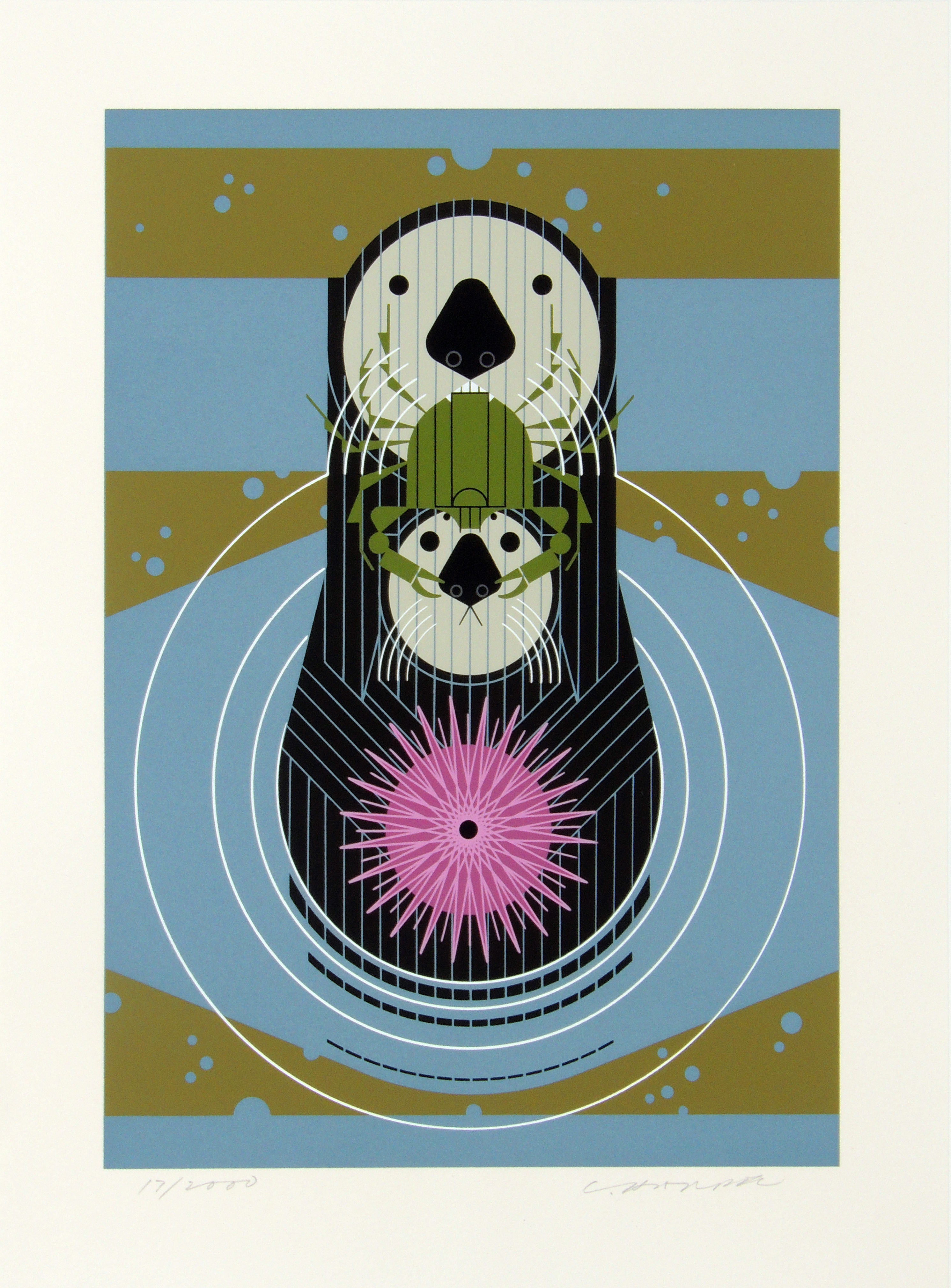 Charley Harper | DEVOTION IN THE OCEAN | serigraph on paper | 14-3/8 x 10-1/4