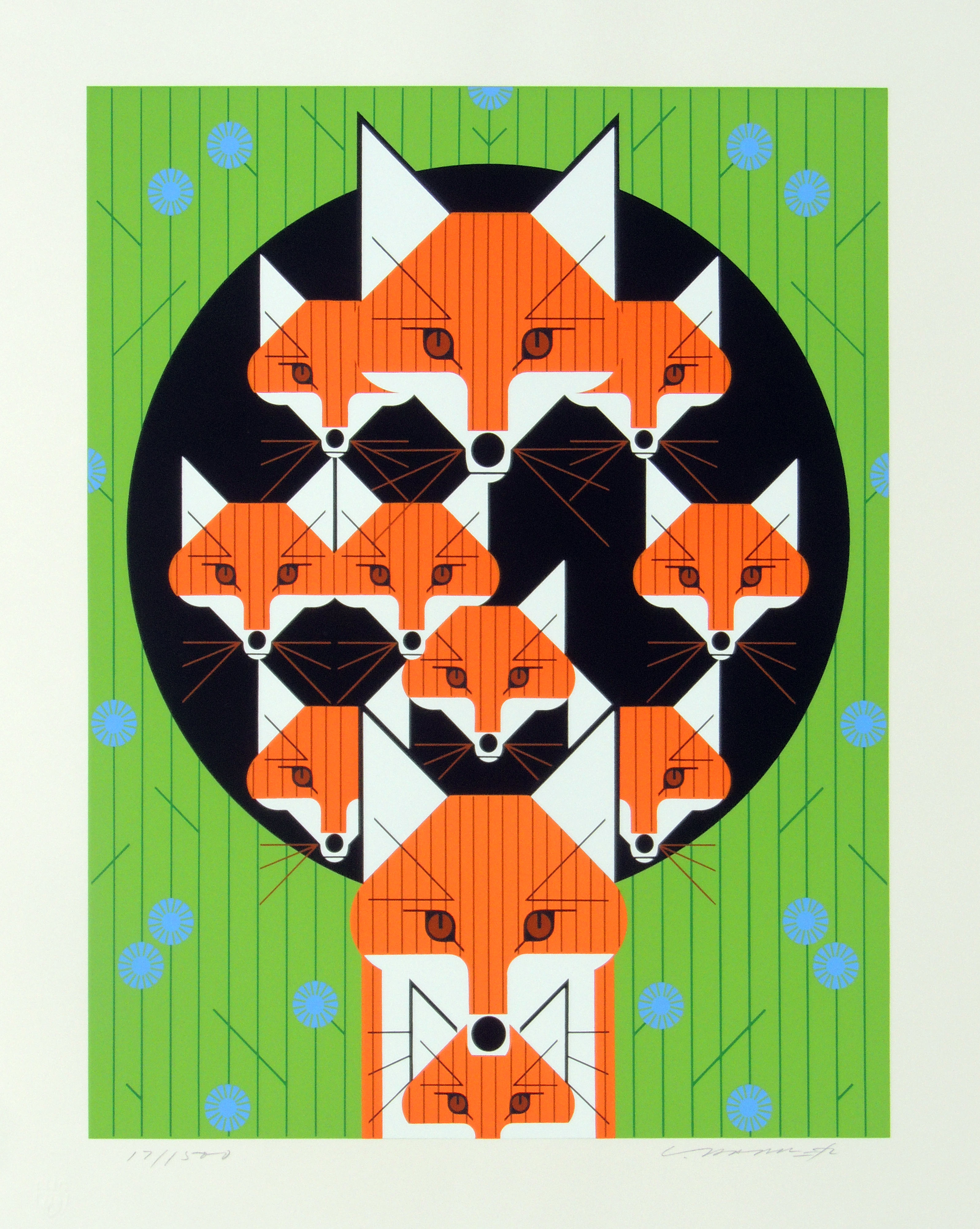 Charley Harper | FOXSIMILIES | serigraph on paper | 17-3/4 x 14