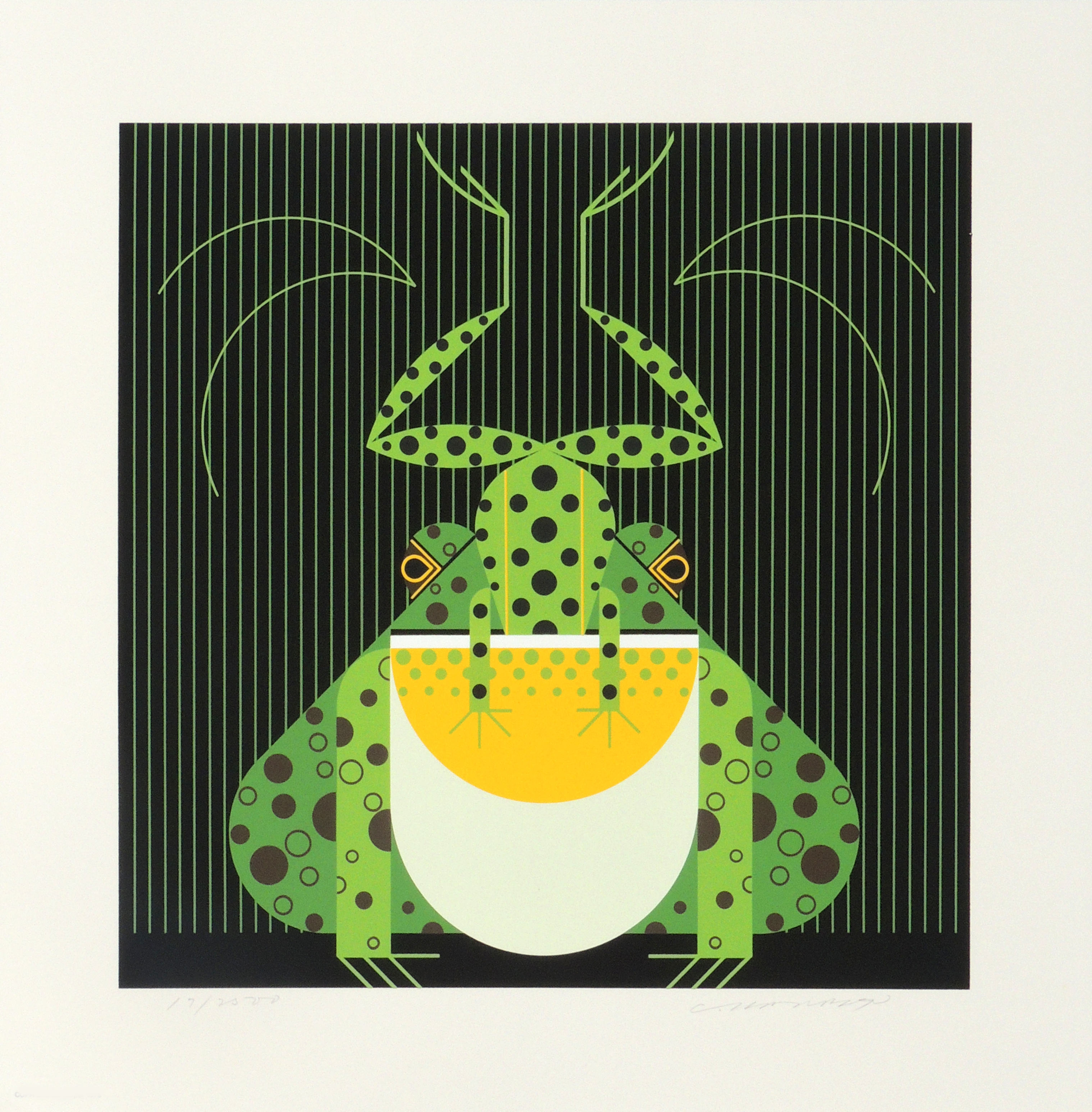 Charley Harper | FROG EAT FROG | serigraph on paper | 14 x 14