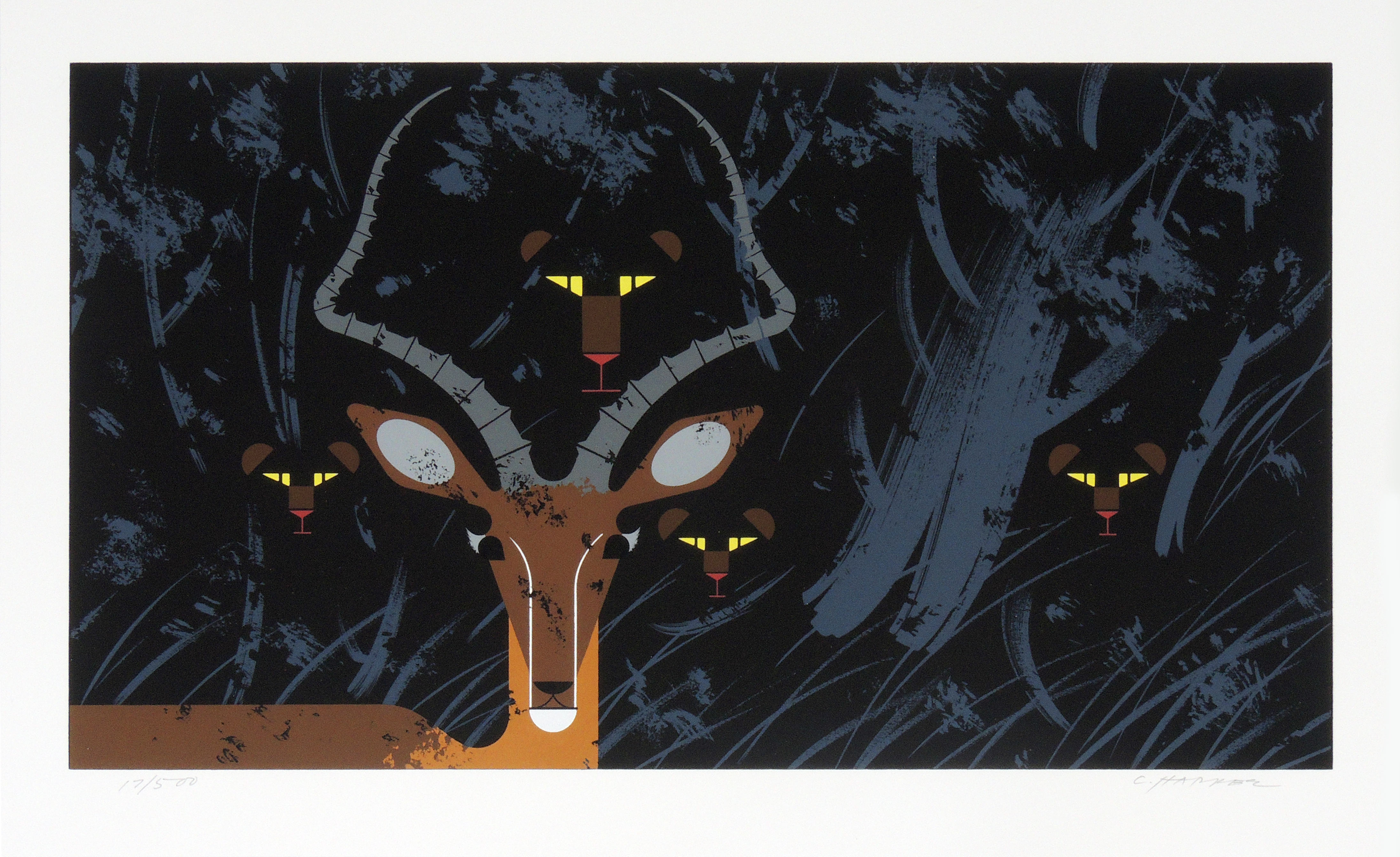 Charley Harper | HUNGRY EYES | serigraph on paper | 10-1/4 x 18-1/2