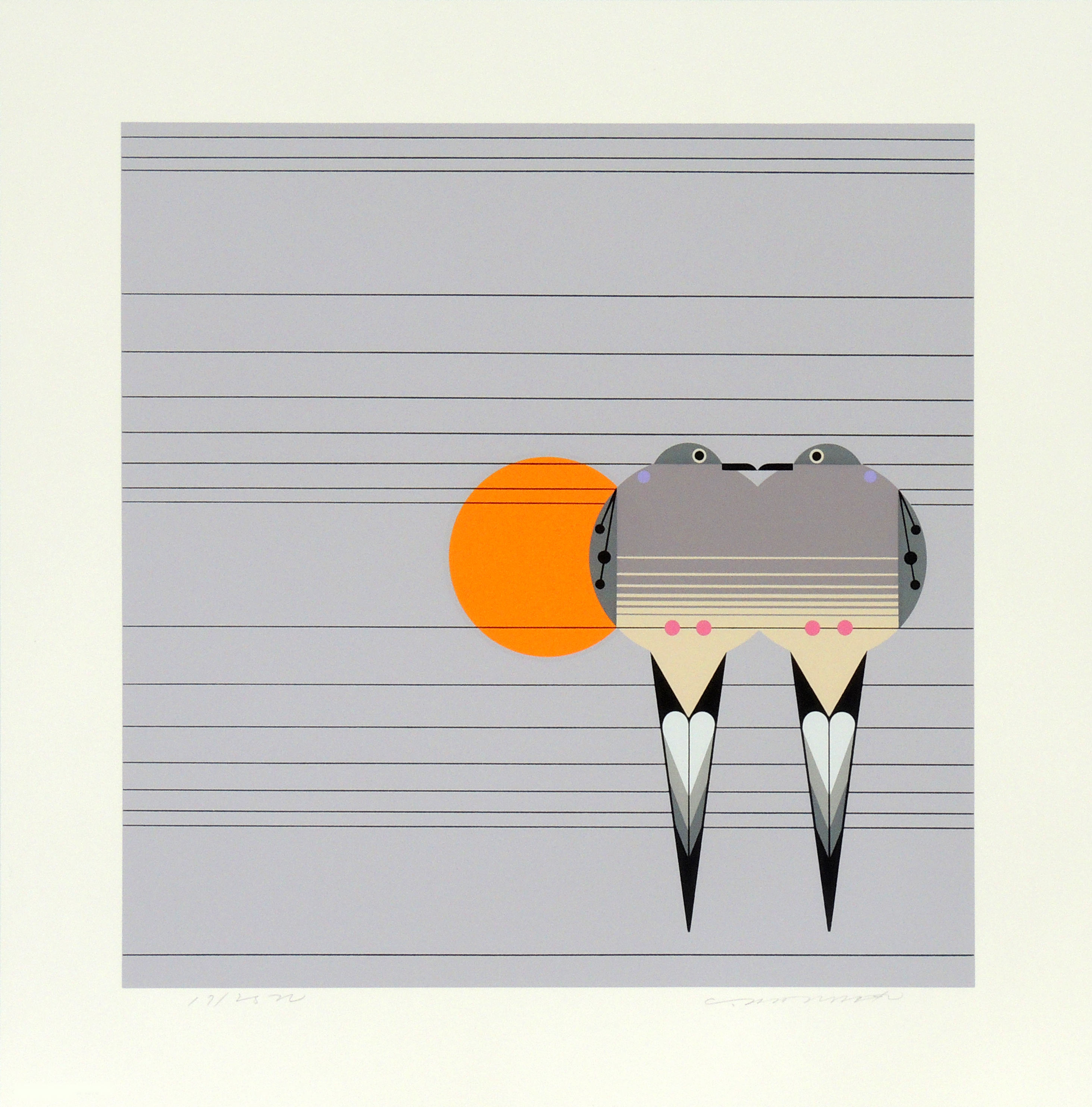 Charley Harper | LOVEY DOVEY | serigraph on paper | 14 x 14