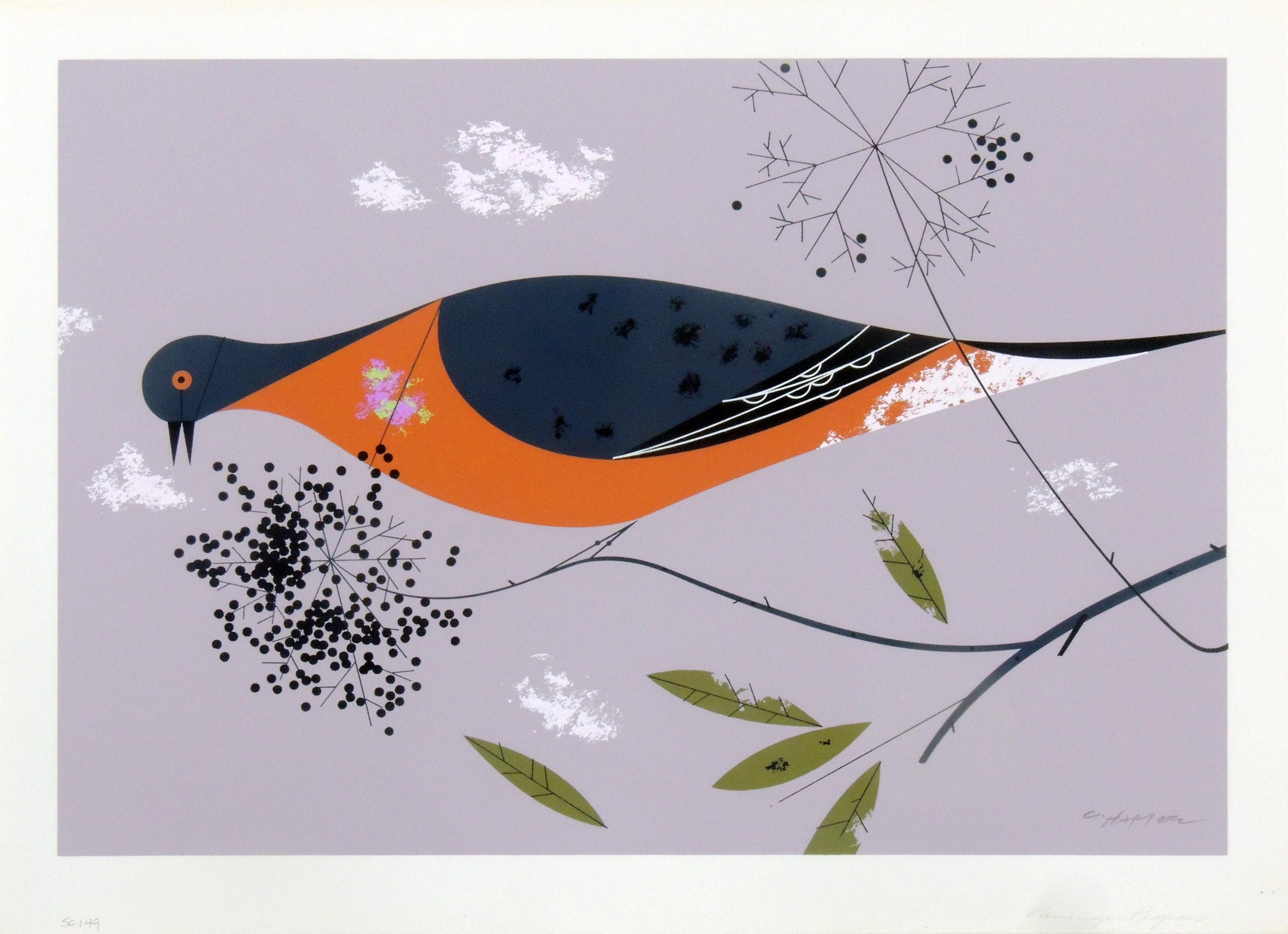 Charley Harper | PASSENGER PIGEON | serigraph on paper | 18 x 13"