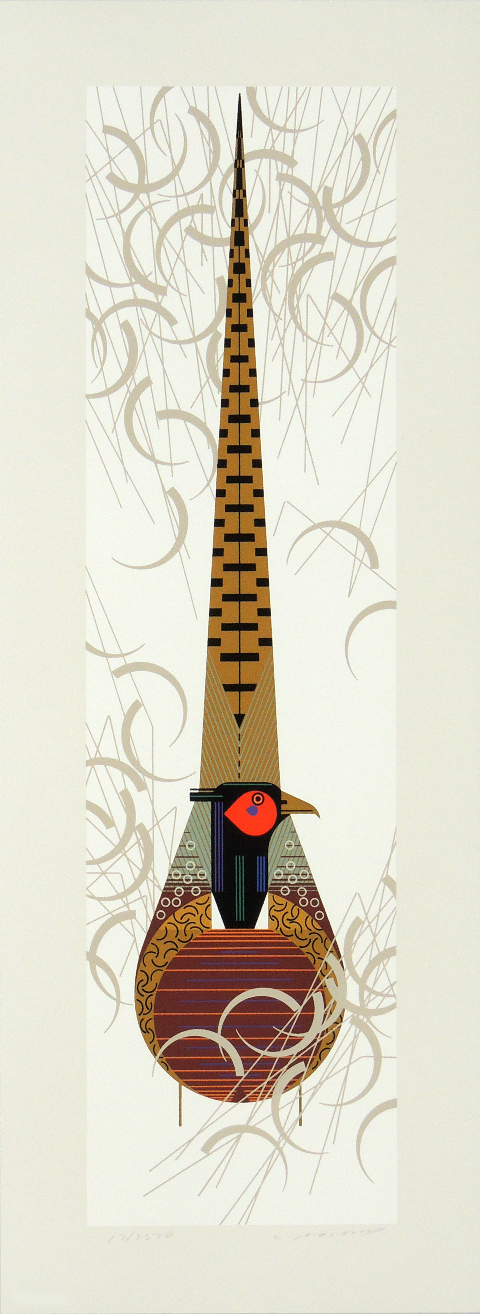 Charley Harper | PHANCY PHEATHERS | serigraph on paper | 26 x 7-1/2