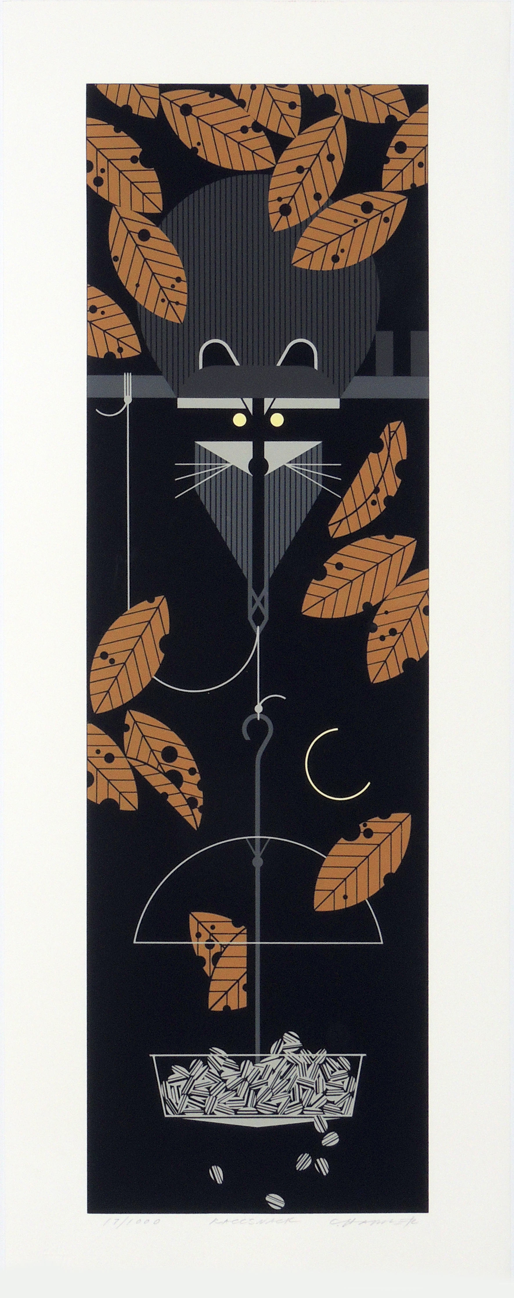 Charley Harper | RACCSNACK | serigraph on paper | 26 x 8