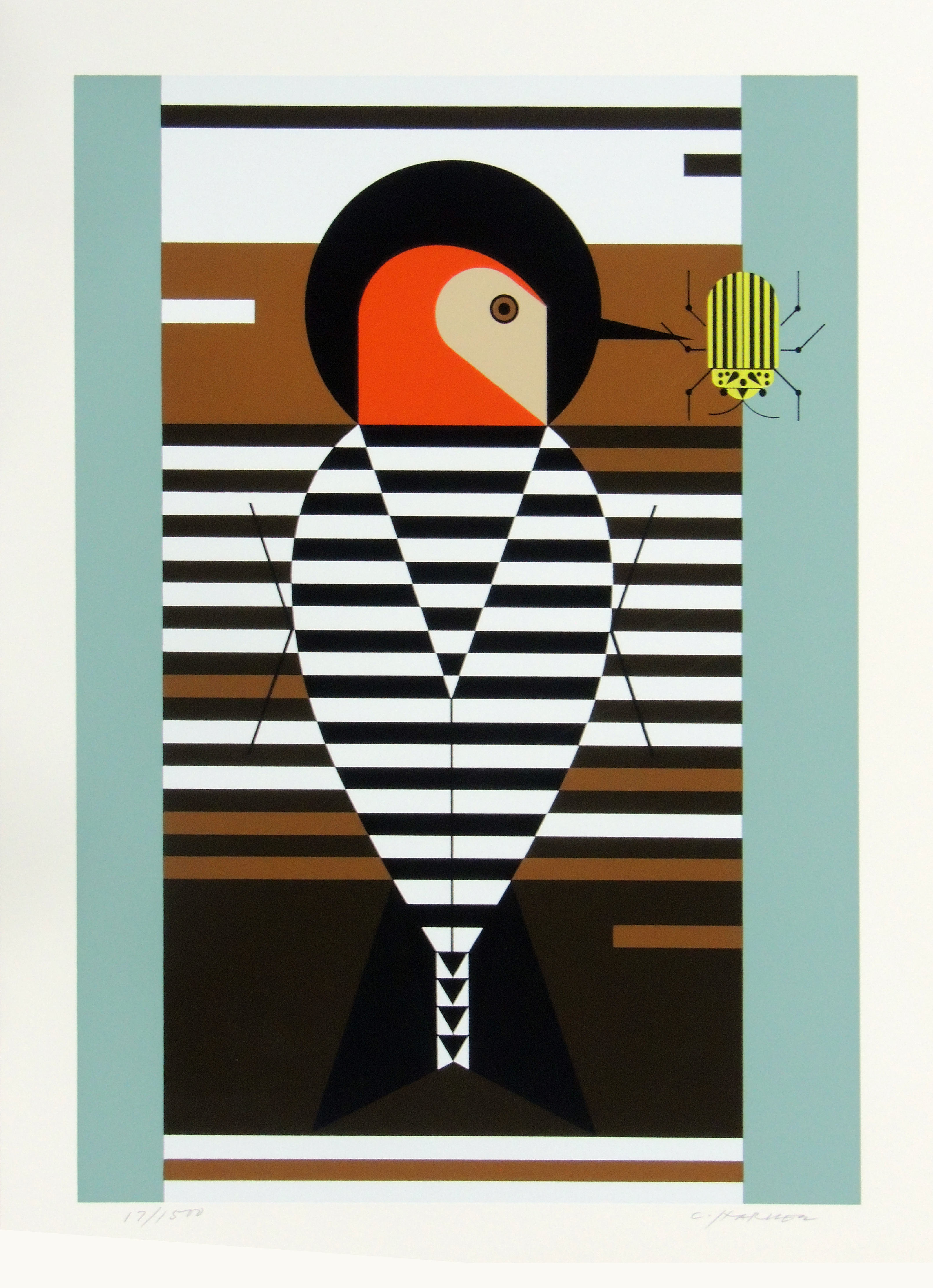 Charley Harper | RED-BELLIED WOODPECKER | serigraph on paper | 18-1/2 x 13