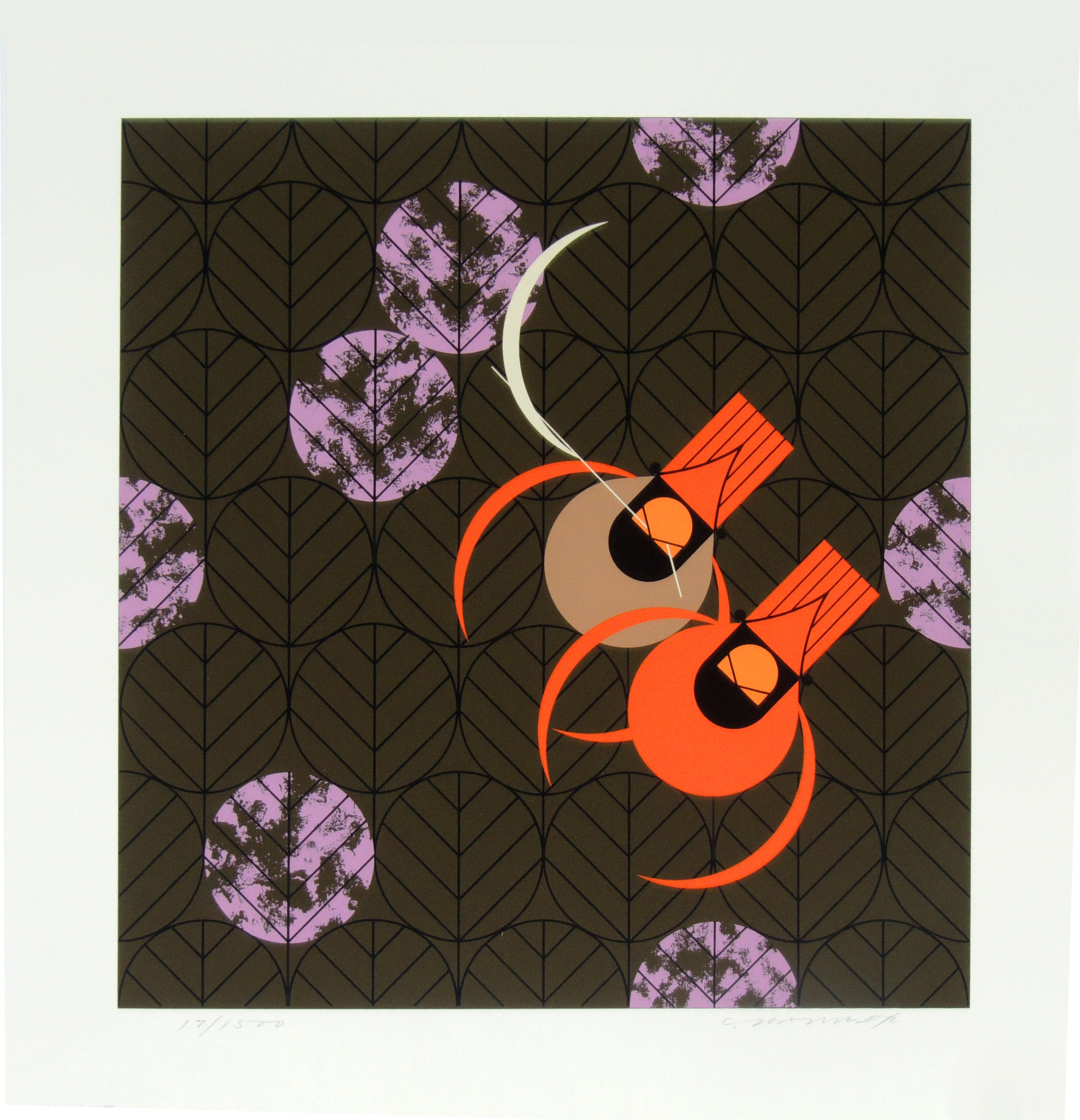 Charley Harper | REDBIRDS AND REDBUDS | serigraph on paper | 15-1/4 x 14-3/4