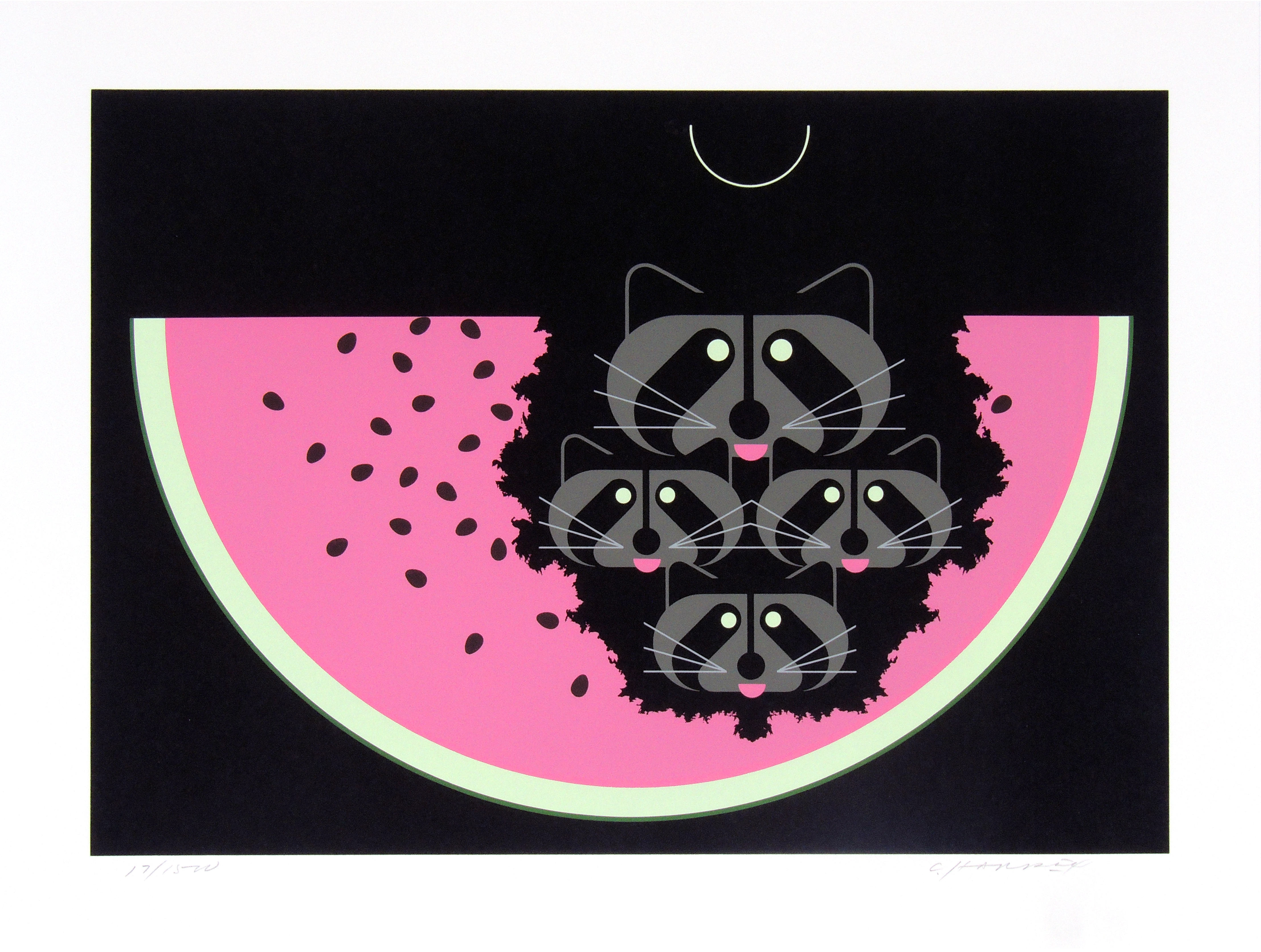 Charley Harper | WATERMELON MOON | serigraph on paper | 12 x 17