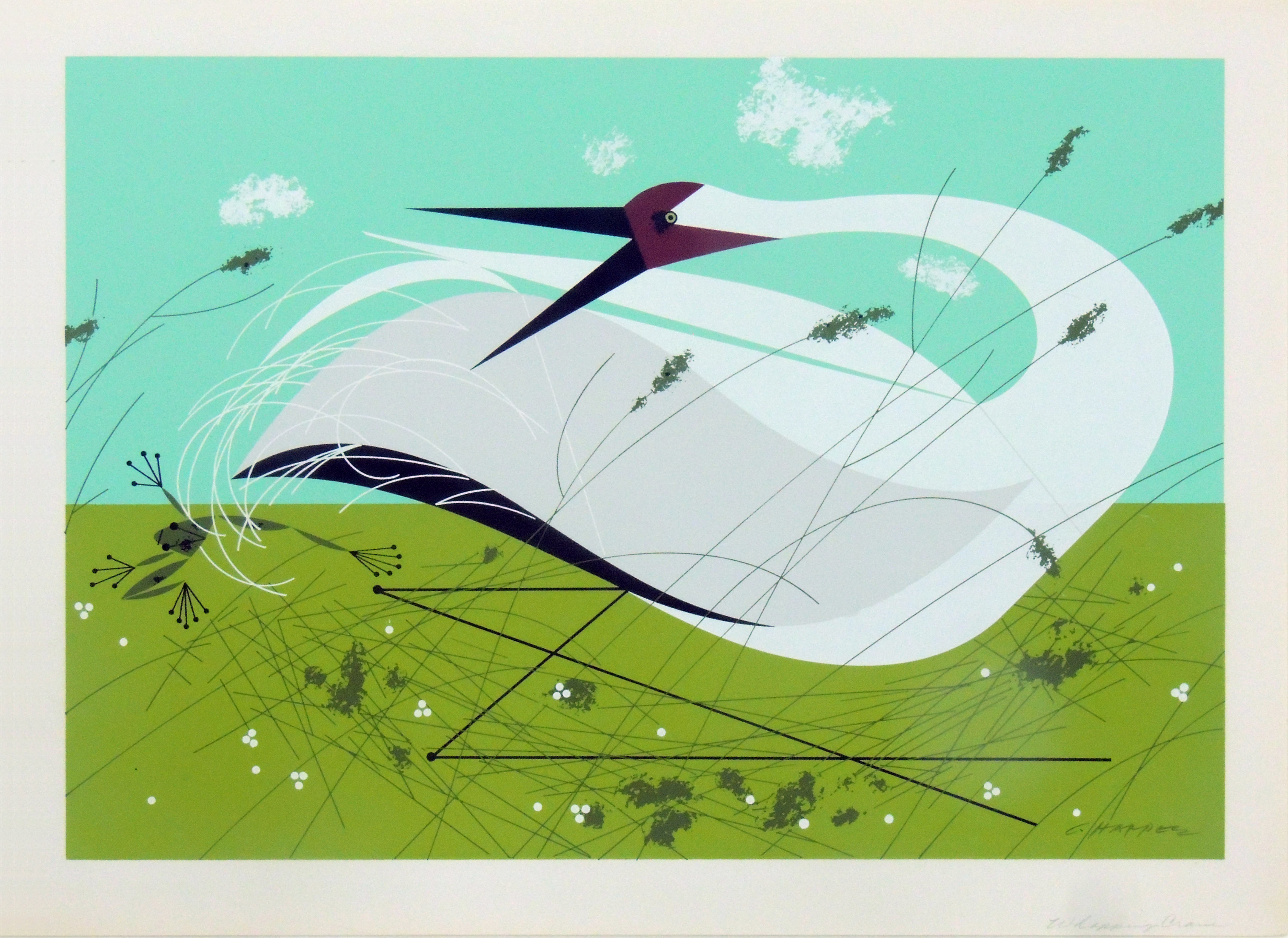 Charley Harper | WHOOPING CRANE | serigraph on paper | 18 x 13"