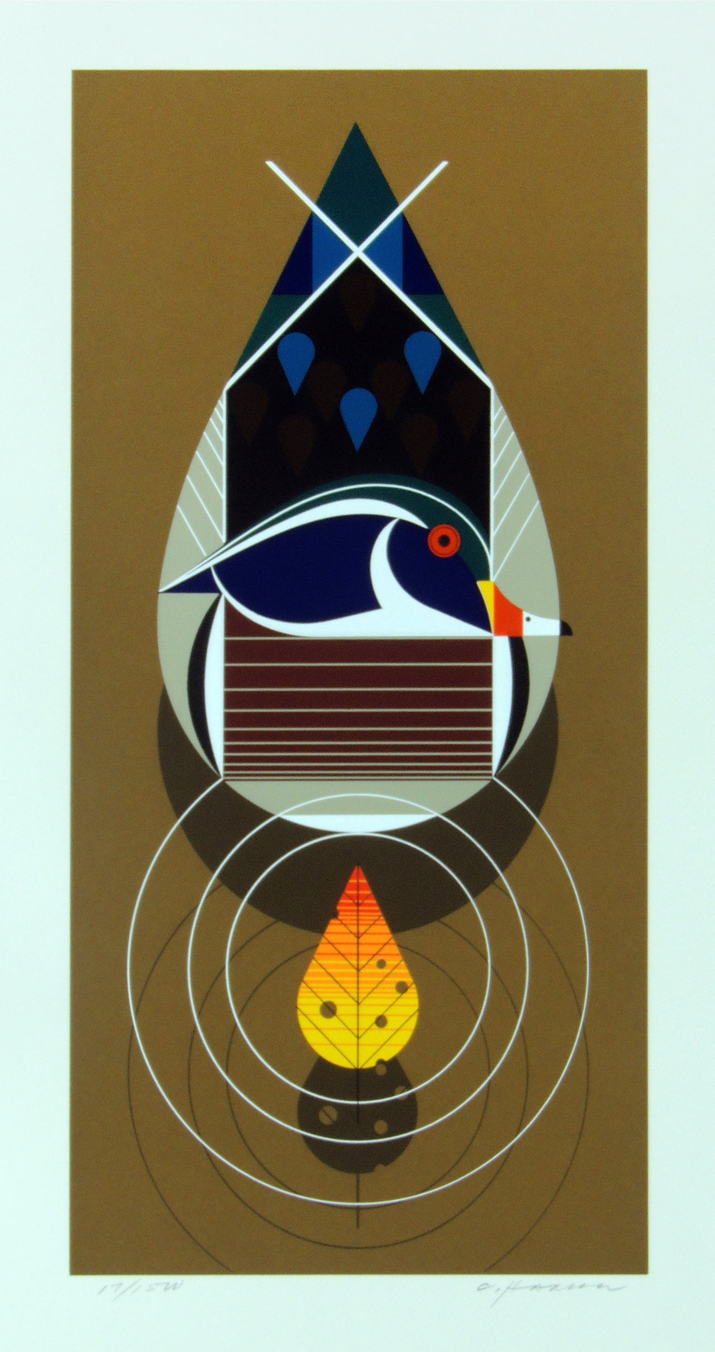 Charley Harper | WOOD DUCK | serigraph on paper | 18-3/8 x 9