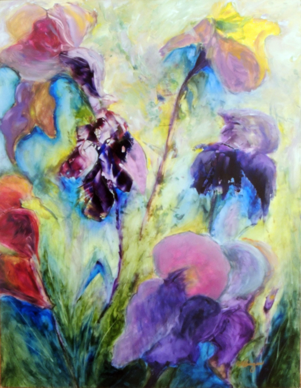Christine Klinger | IRIS GARDEN | Oil on Yupo