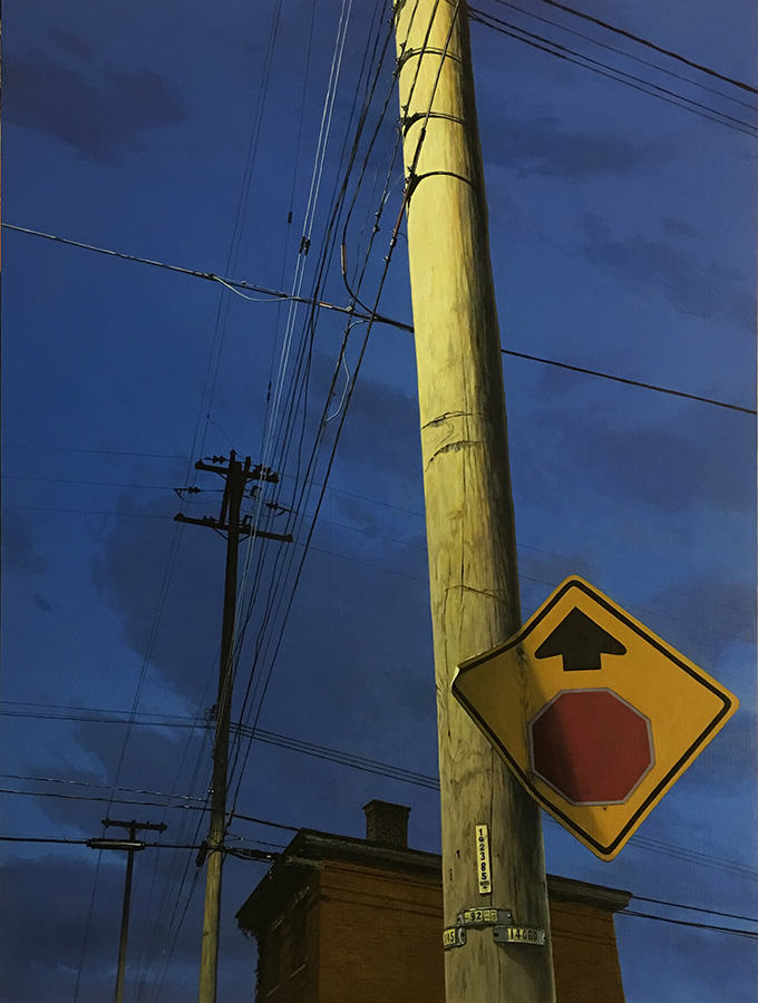 Christopher Burk | CONNECTED – COLUMBUS, WASHINGTON NOCTURNE | oil on panel | 24 x 18""