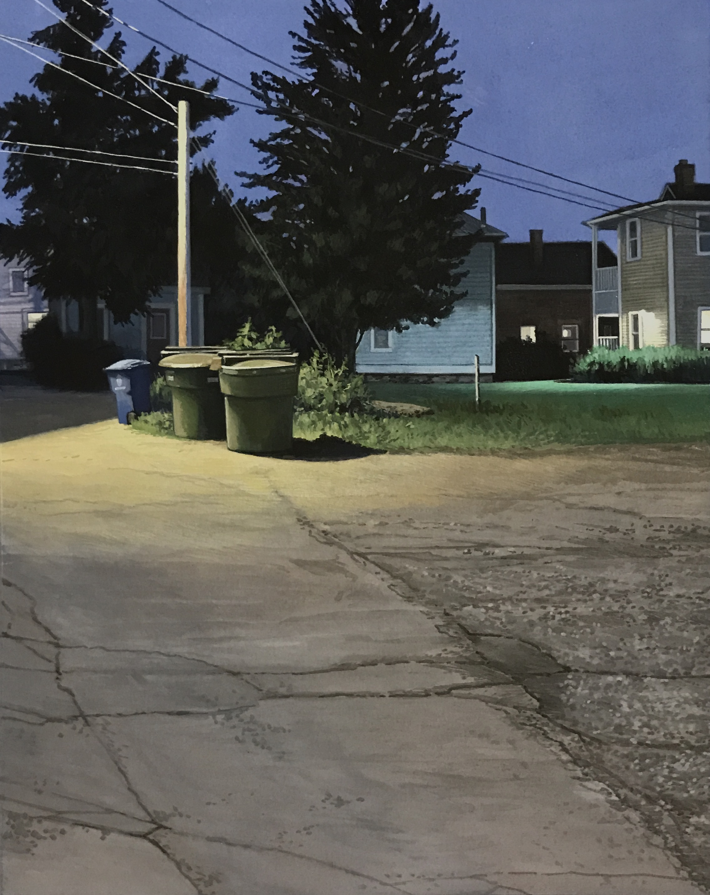 """Christopher Burk   ALLEYWAY–NOCTURNE III   gouache on paper   10 x 8"""""""