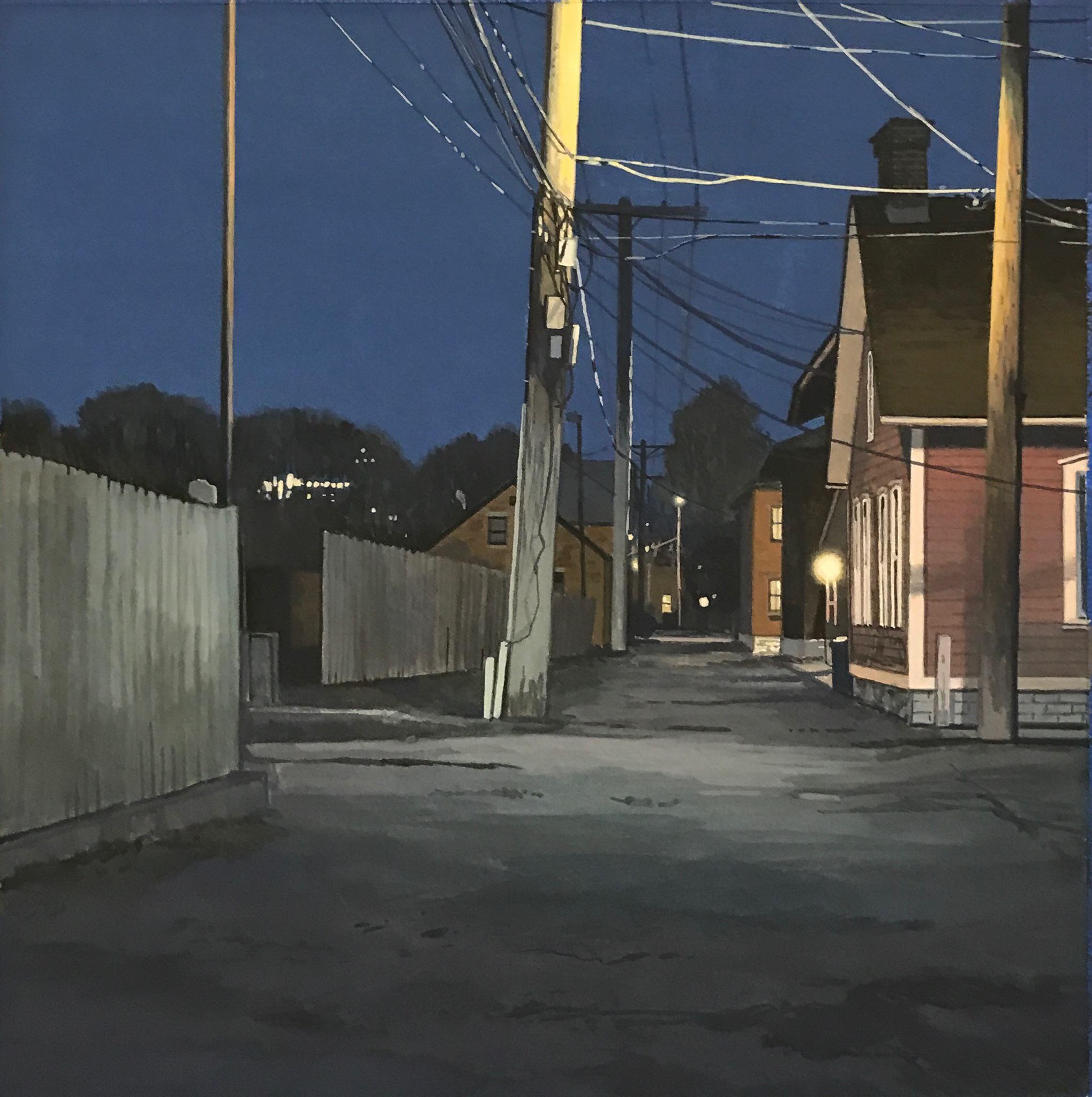 """Christopher Burk   ALLEYWAY-NOCTURNE II   gouache on paper   10 x 10"""""""