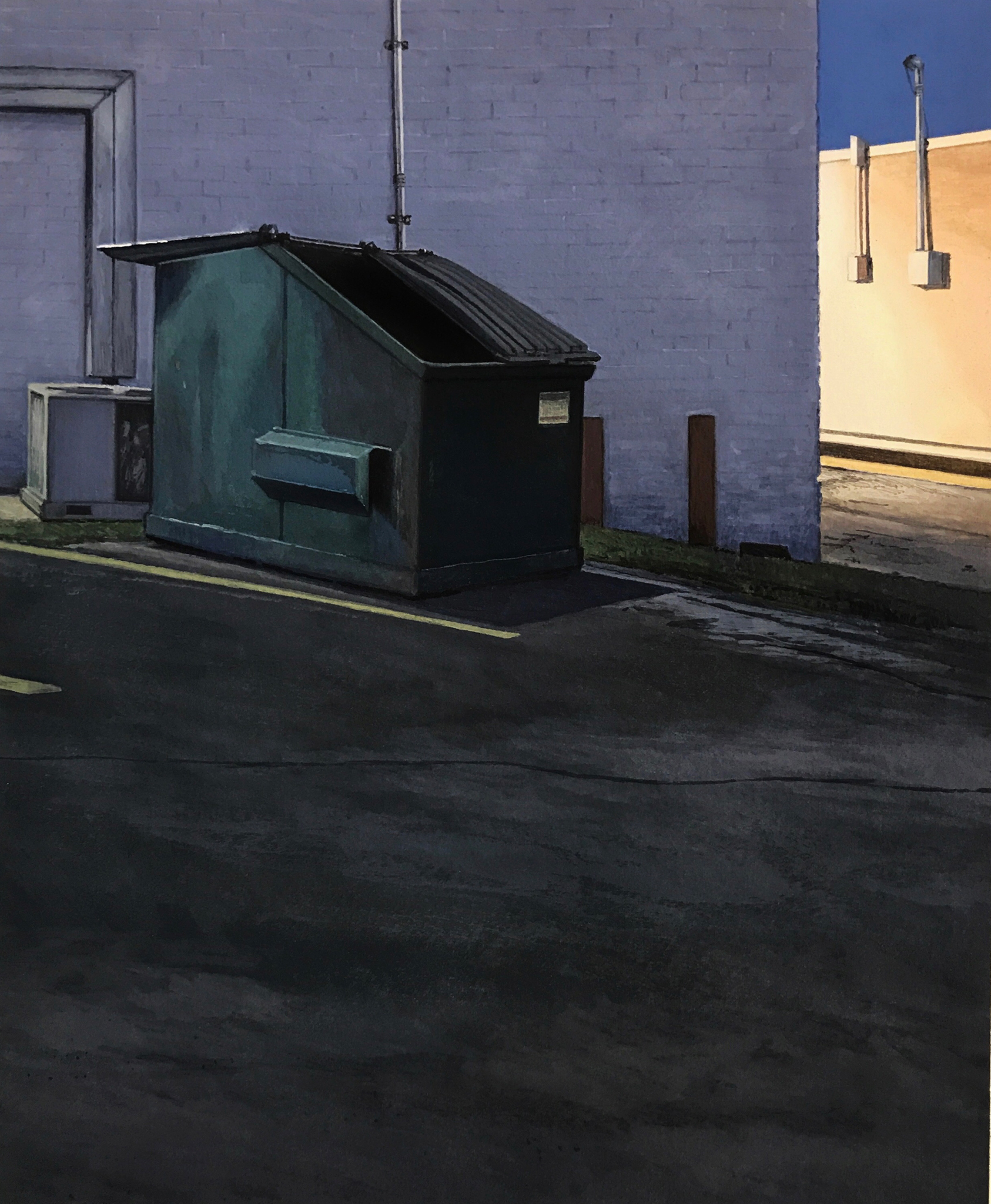 Christopher Burk | DUMPSTER–NOCTURNE II | gouache on paper | 10 x 8""