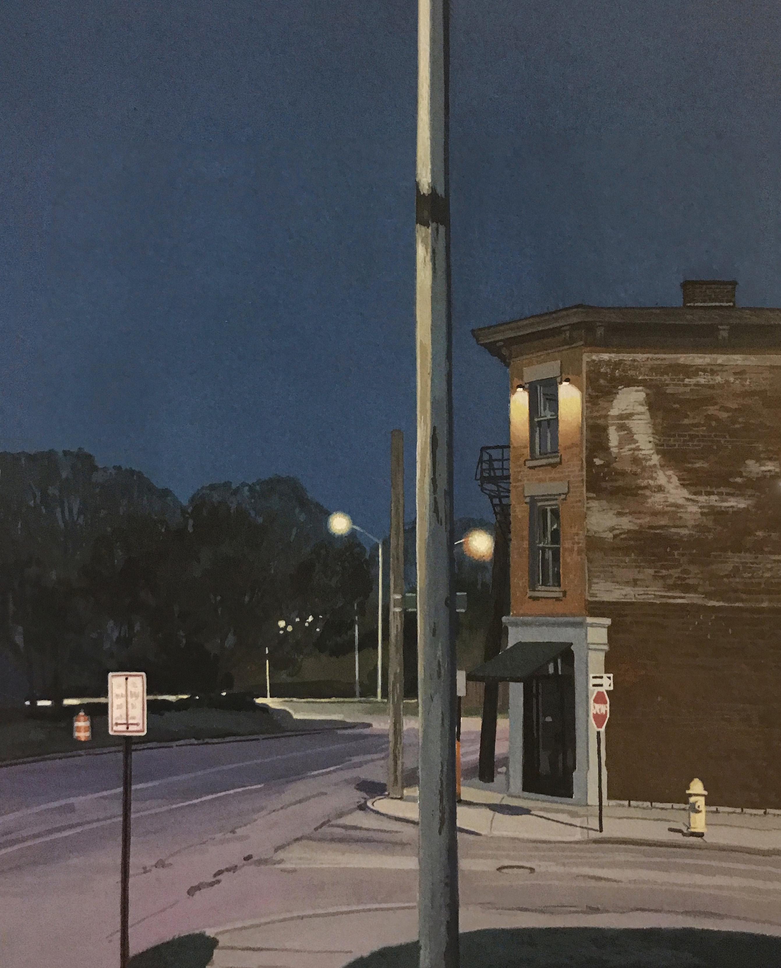 "Christopher Burk   LIVINGSTON–NOCTURNE   gouache on paper   10 x 8"""