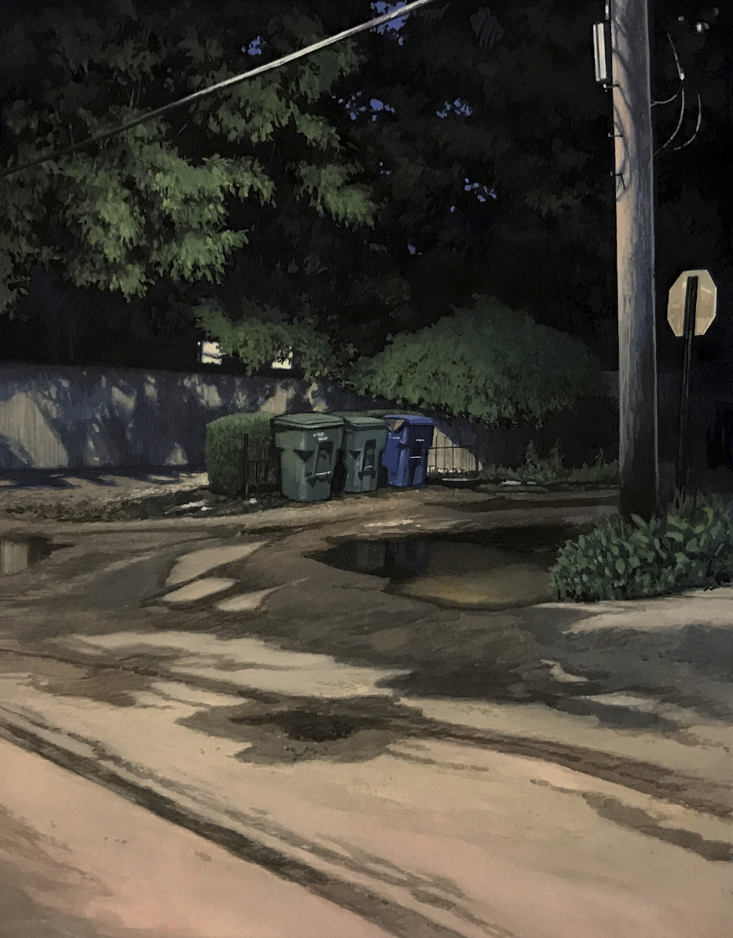 "Christopher Burk   NOCTURNE TRIO   gouache on paper   10 x 8"""
