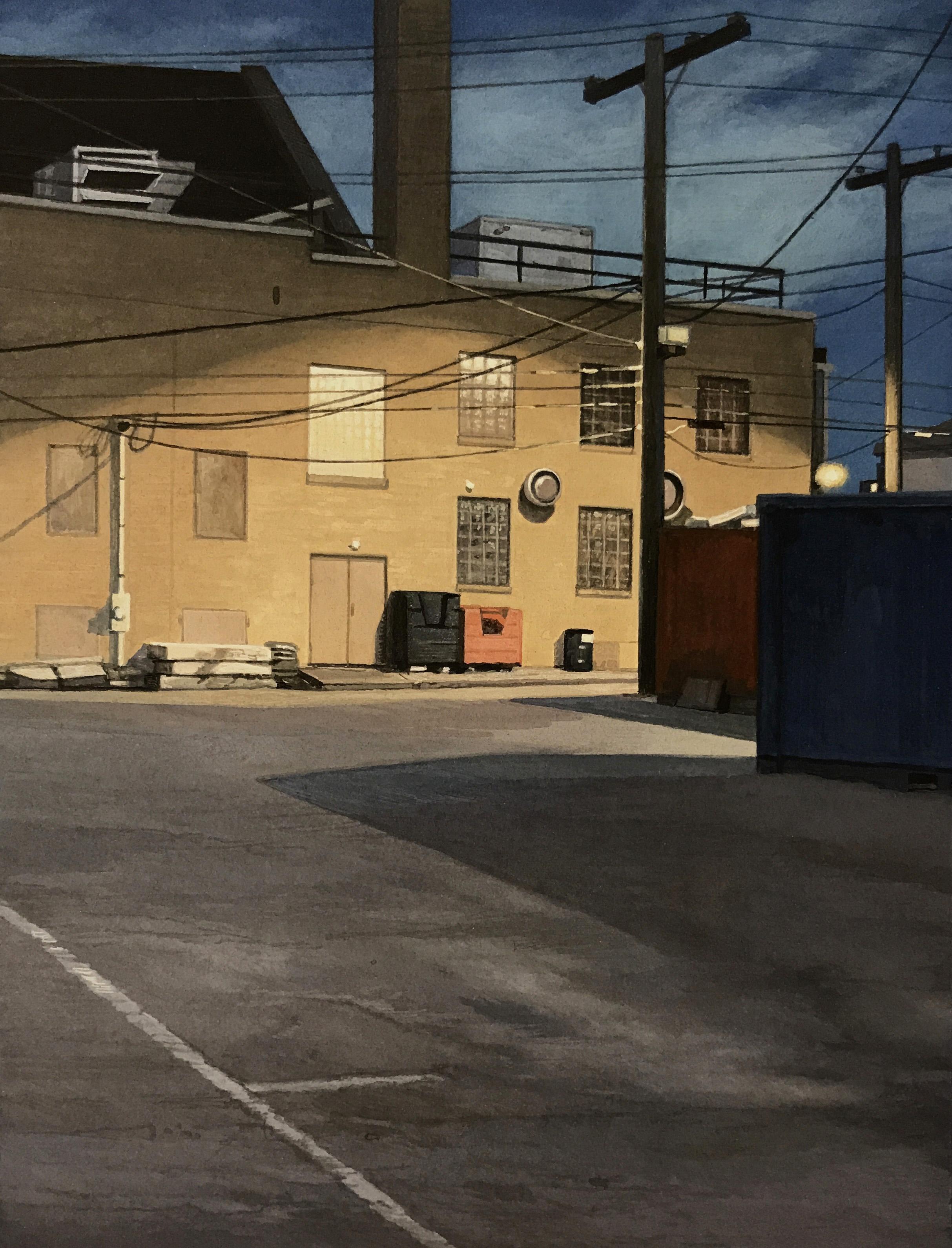 "Christopher Burk   PARKING LOT–NOCTURNE I   gouache on paper   8 x 6"""
