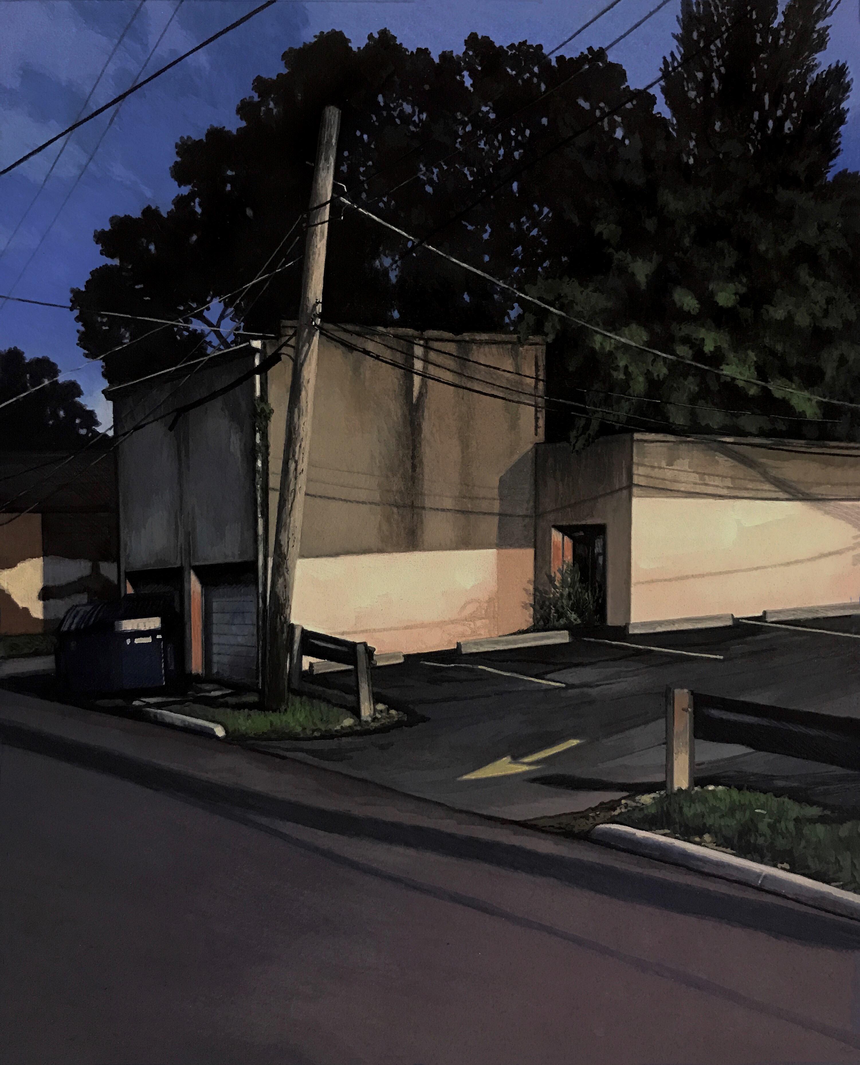 "Christopher Burk | PARKING LOT IV | gouache on paper | 11 x 9"""