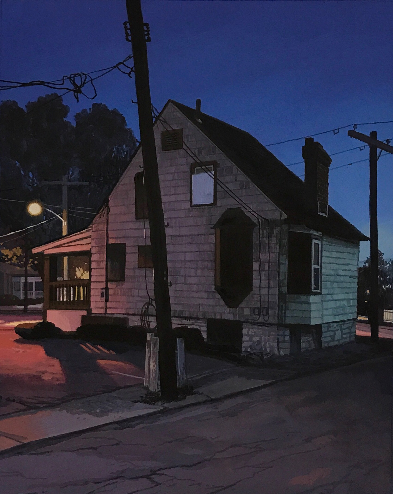 Christopher Burk | RAMSHACKLE–NOCTURNE | gouache on paper | 10 x 8""