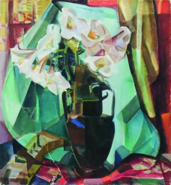 Clara Deike | STILL LIFE WITH REGAL LILIES IN DARK VASE | 1935 | oil on canvas | 26 x 20"