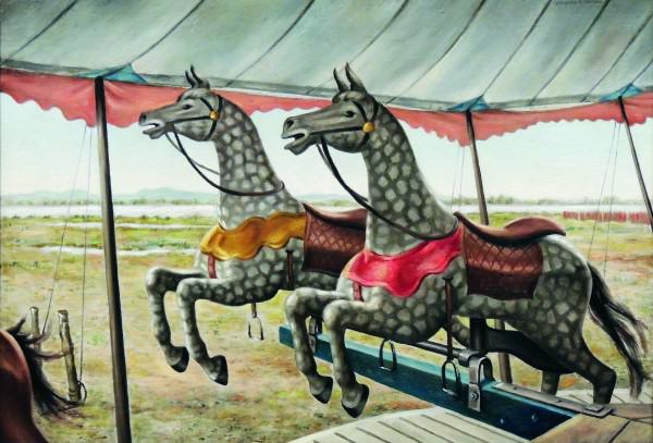 Clarence Carter | MERRY GO ROUND (STUDY: CAROUSEL BY THE SEA) | oil on canvas | 21-1/2 x 32-1/4"