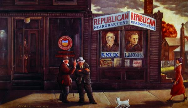 Clyde Singer (1908-1999) | REPUBLICAN HEADQUARTERS | n.d. | oil on canvas | 20 x 36"