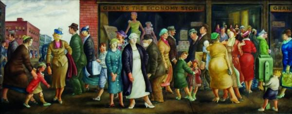 Clyde Singer | STREET PEOPLE | oil on canvas| 30 x 75"