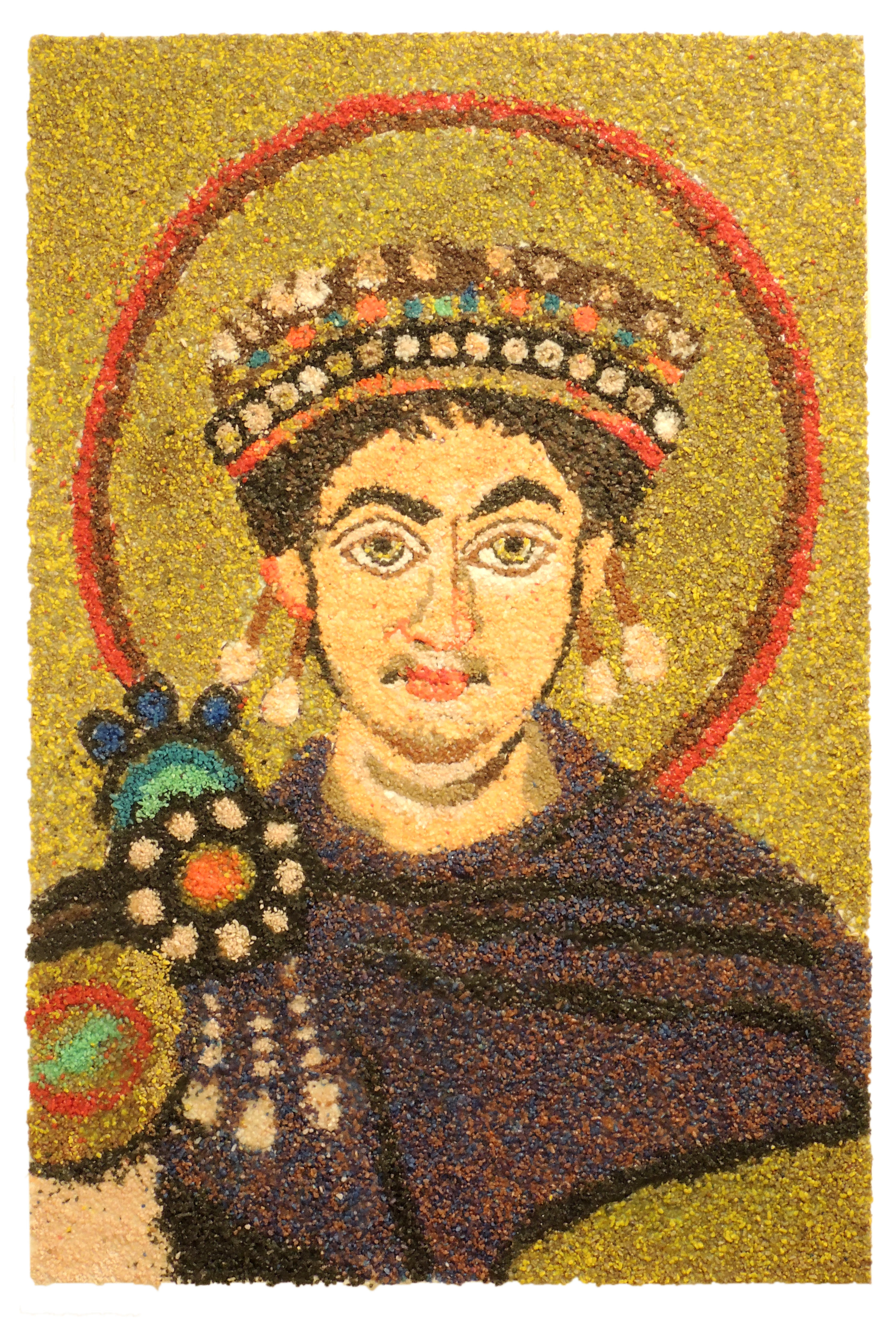 Collaborative Student Project   STUDY OF JUSTINIAN & HIS COURT MOSAIC FROM THE CHURCH OF SAN VITALE RAVENNA, ITALY c. 547    stone mosaic   College Credit Plus Appreciation of the Arts   Shawnee High School