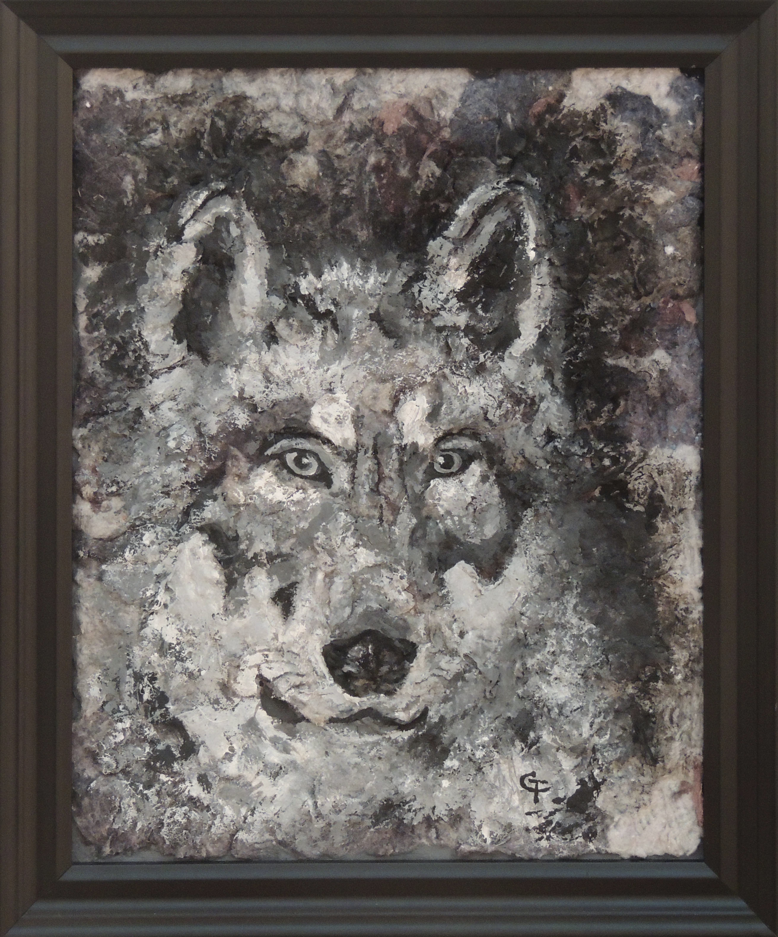 Cooley F. Turner | WOLF IN SNOW | Watercolor on Dryer Lint