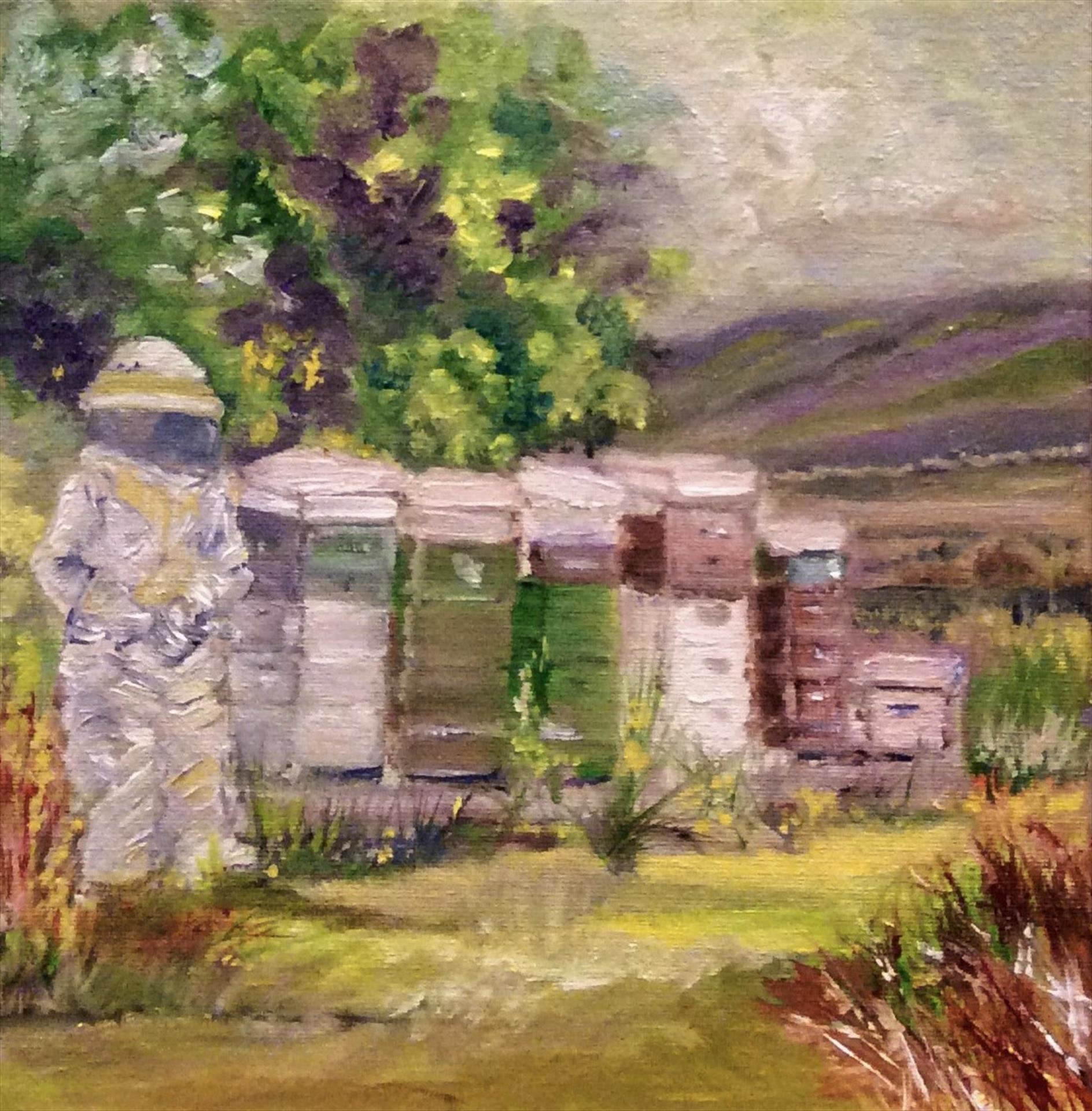 Cynthia Davis | BEE YARD AT THE FARM, ROSS COUNTY | oil | 8 x 10