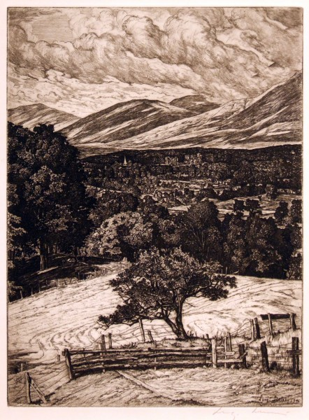 Luigi Lucioni | CLOUDS OVER MANCHESTER | etching on paper | 6-3/8 x 11-3/8 | n.d.