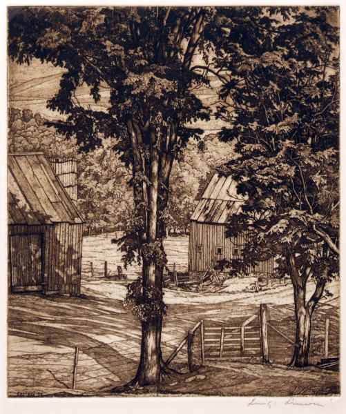 2005.005.54 | Luigi Lucioni | TREES AND SHADOWS | etching | 1958 | Donated by Ms. Susan Wayne and Miss Leslie Wayne Loftus