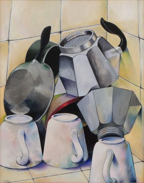 David Battle | DRYING DISHES; ITALIAN KITCHEN | acrylic