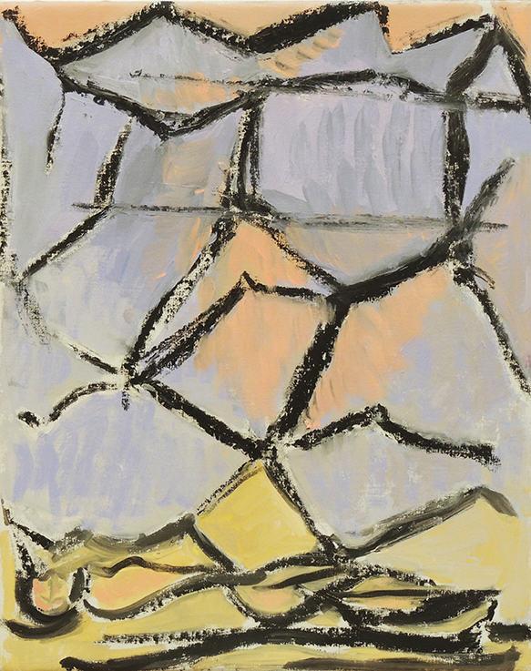 "Deborah Rosenthal   SPRING SLEEP   Oil and oil stick on linen   20 x 16""   2009"