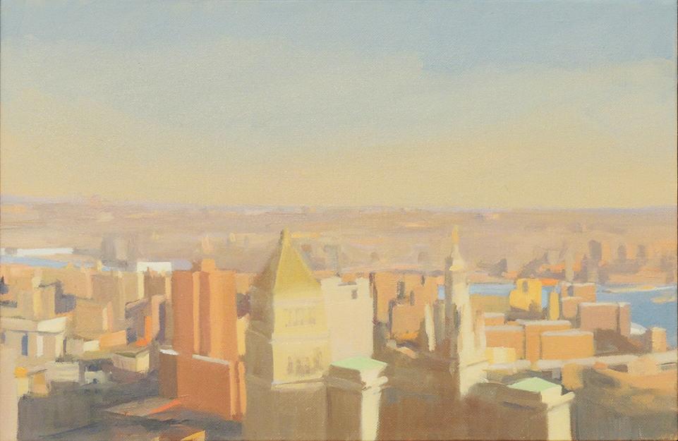 "Diana Horowitz   EVENING LIGHT, EAST RIVER   Oil on linen   12 x 18""   2010"