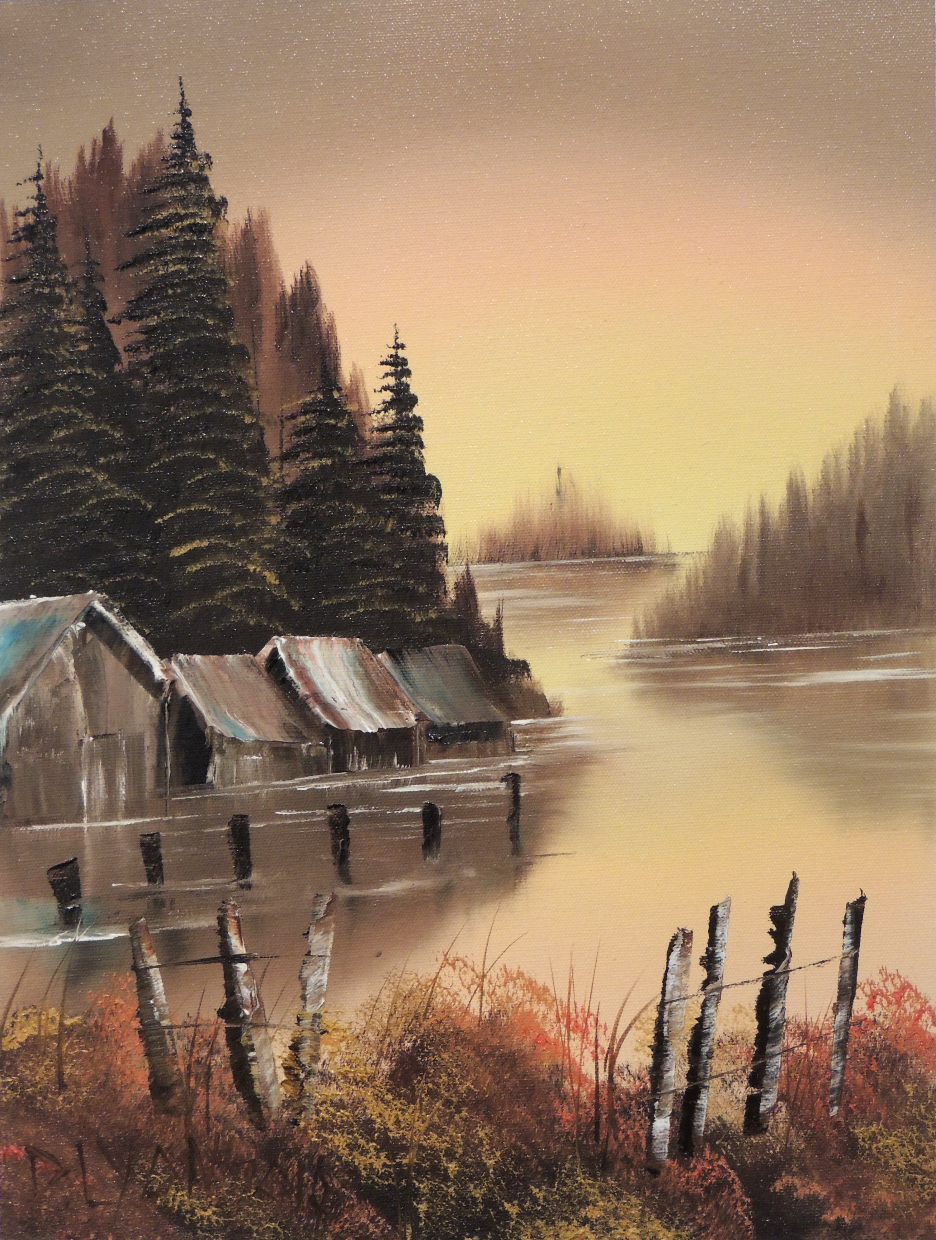 Diane F. Lyon | SUNSET LAKE | Oil on Canvas