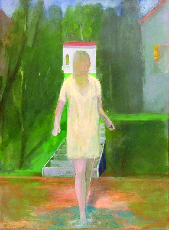 "Donald Beal   SLEEP WALKER   oil on panel   30 x 22""   2018"