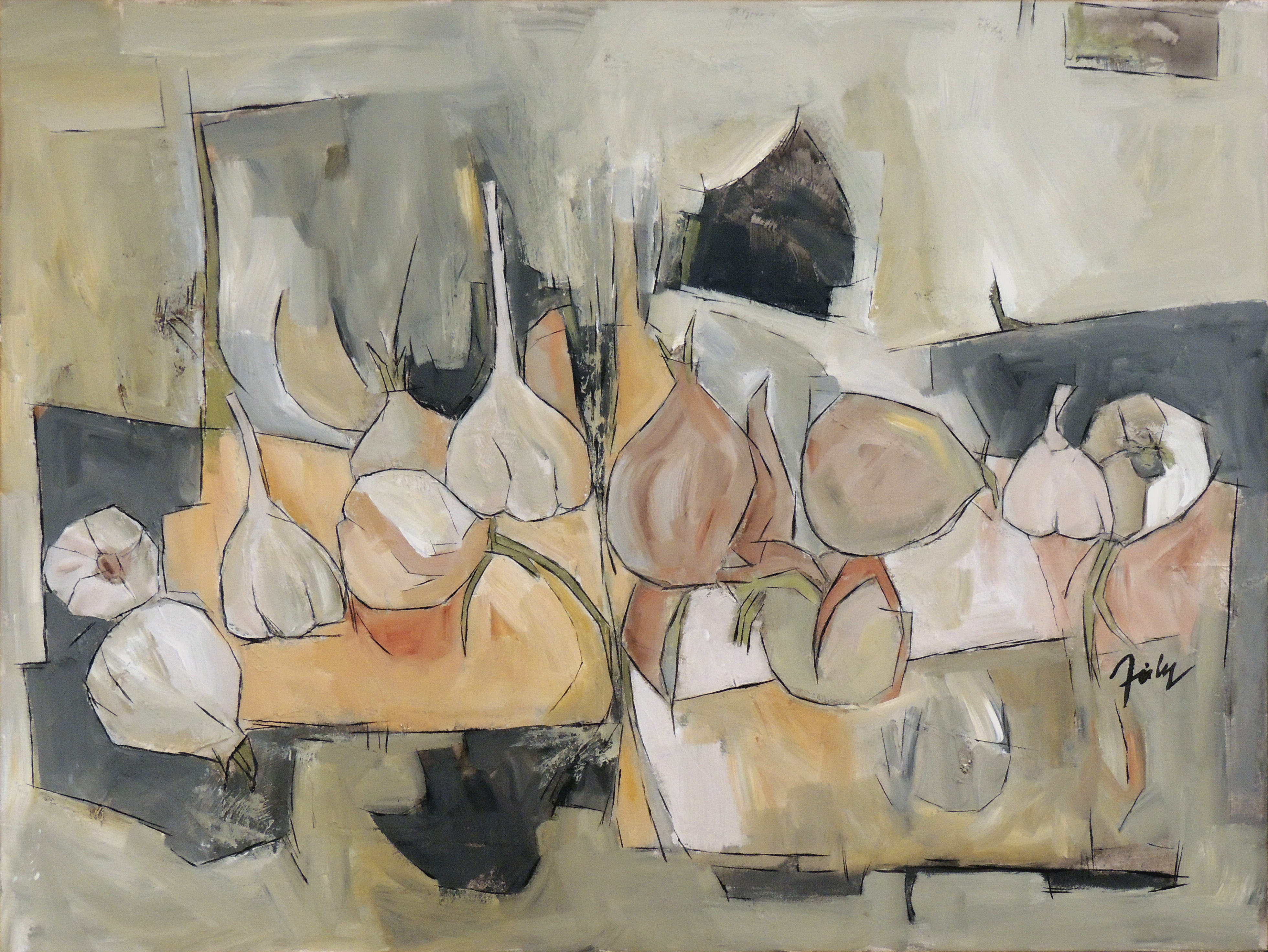 Douglas Fiely | ONIONS AND GARLIC | Acrylic on Canvas