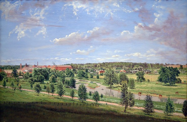 Gustavus Frankenstein | VIEW FROM MITCHELL HILL, LOOKING TOWARDS LAGONDA VILLAGE | oil on canvas | 19.52 x 28.5"