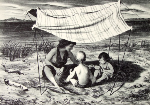 Lawrence Beall Smith | SEASIDE NOMADS | lithograph on paper | 9-1/2 x 13-1/2"