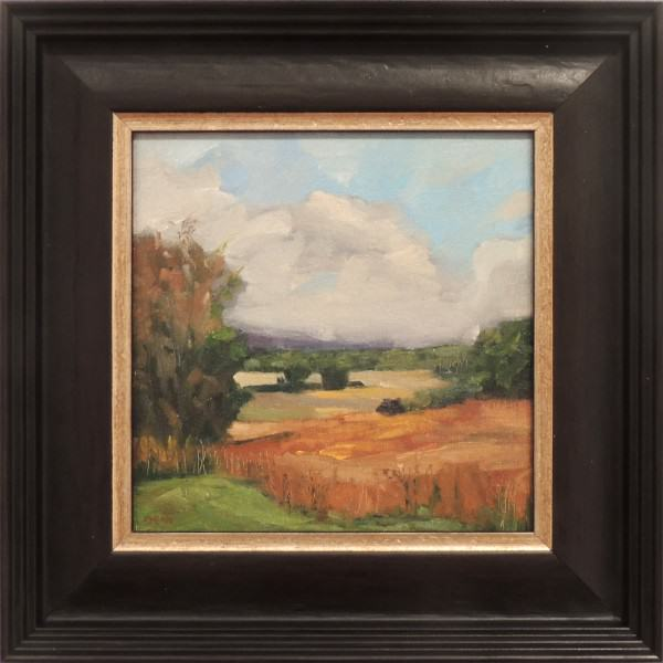 Edie Dean | DOWN DEBBIE'S HILL | oil on panel | 8 x 8""