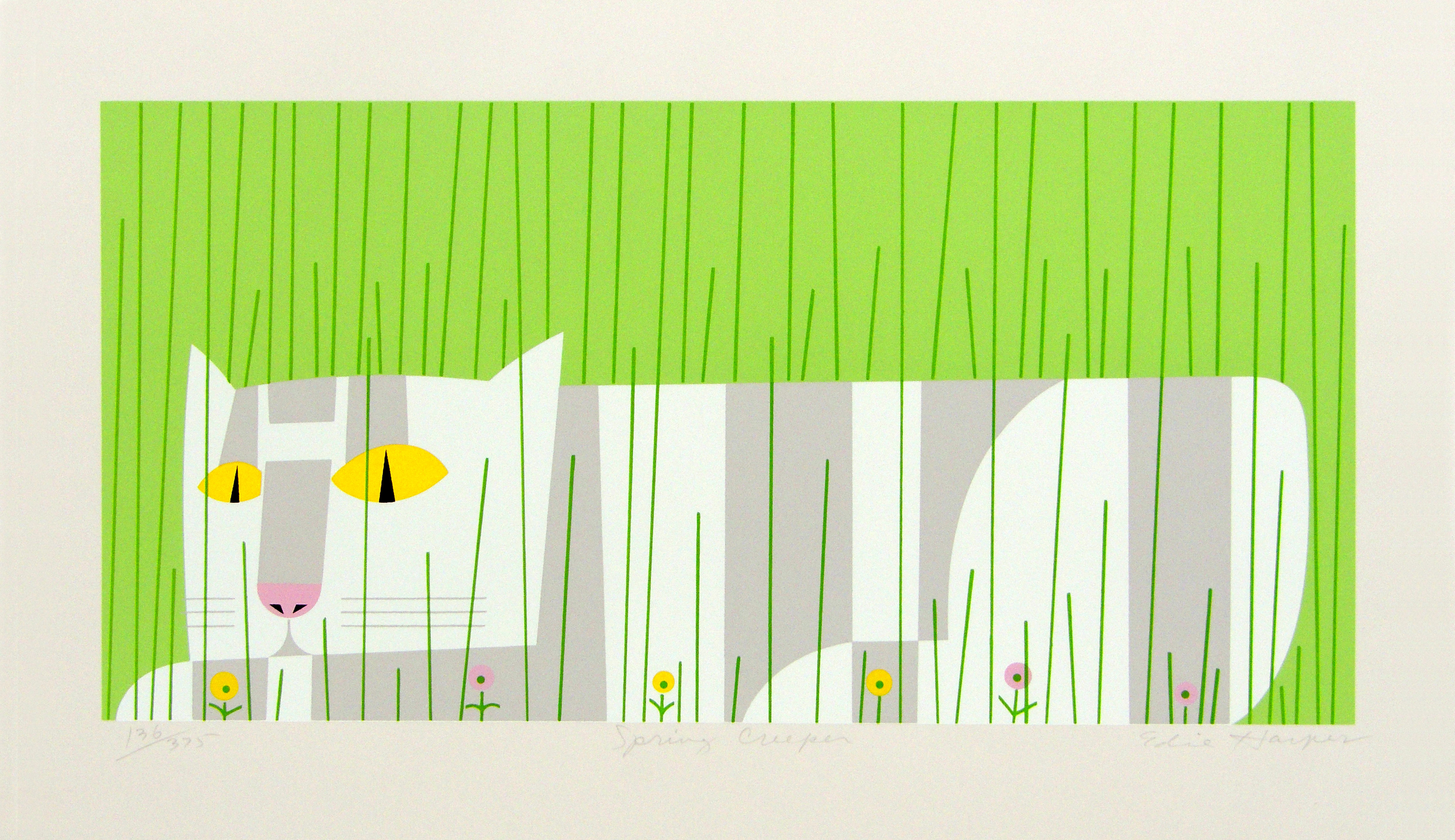 Edie Harper | SPRING CREEPER | serigraph on paper | 12 x 20