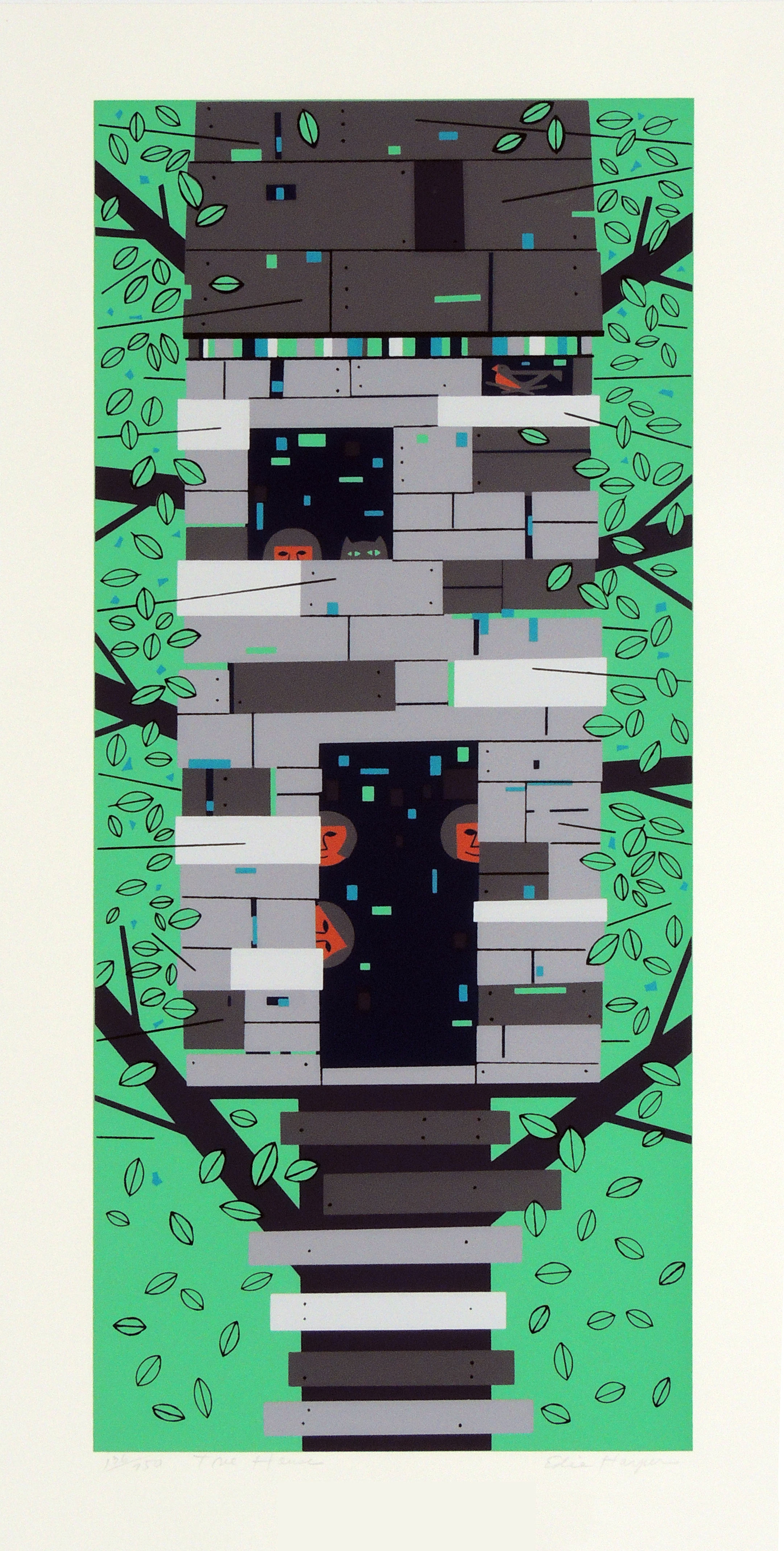 Edie Harper | TREE HOUSE | serigraph on paper | 24 x 10-7/8