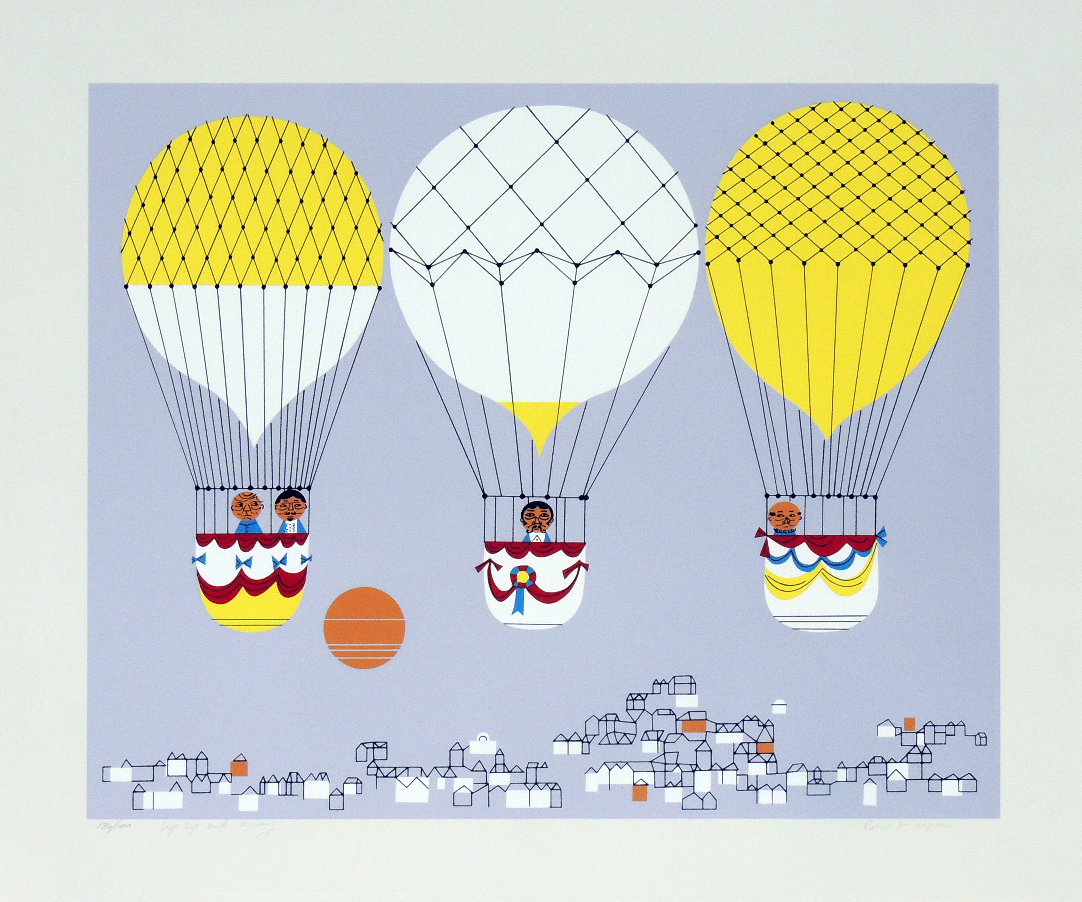 Edie Harper | UP, UP, AND AWAY | serigraph on paper | 20 x 24